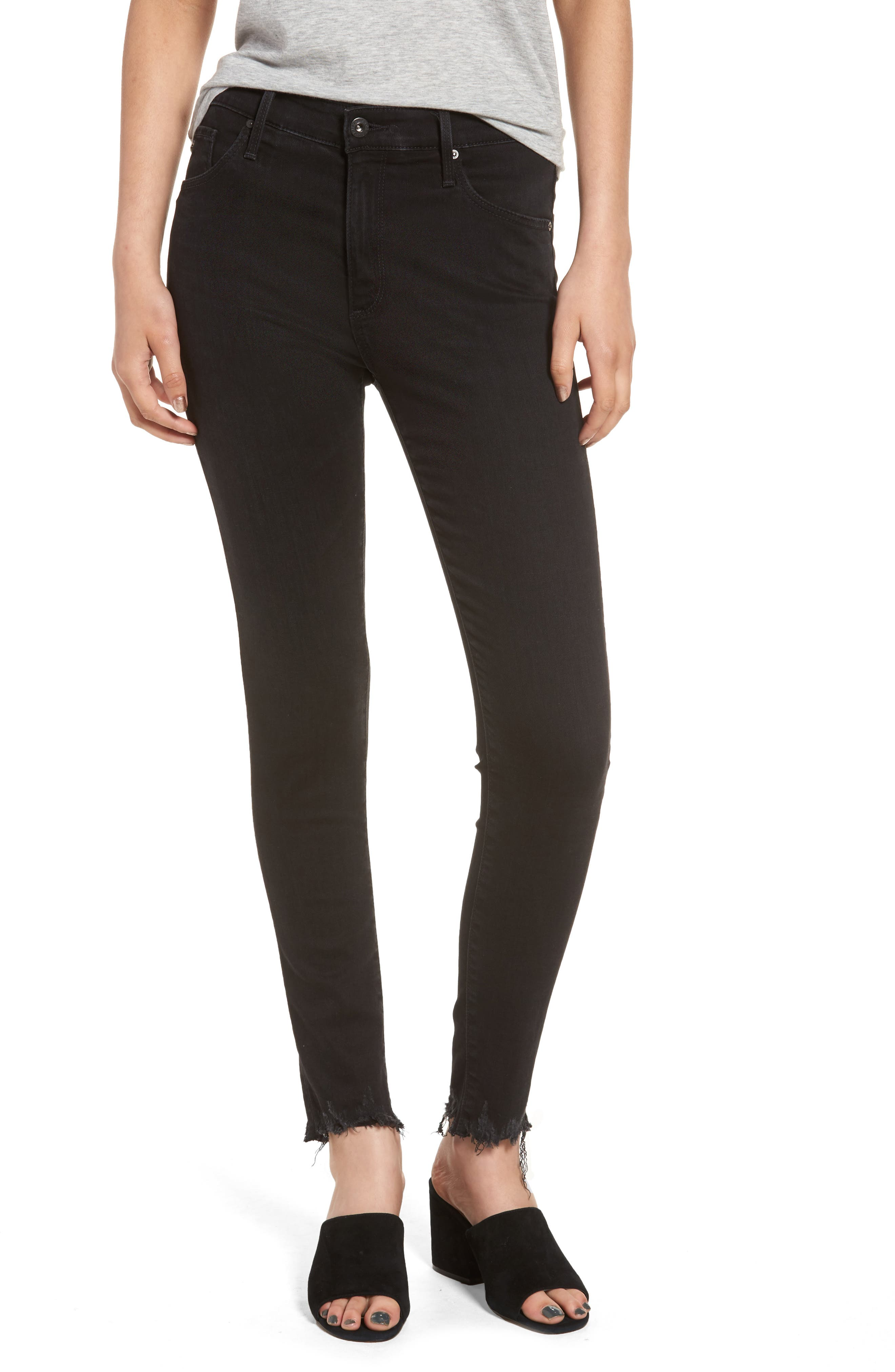 Alternate Image 1 Selected - AG Farrah High Waist Ankle Skinny Jeans (Black Storm)