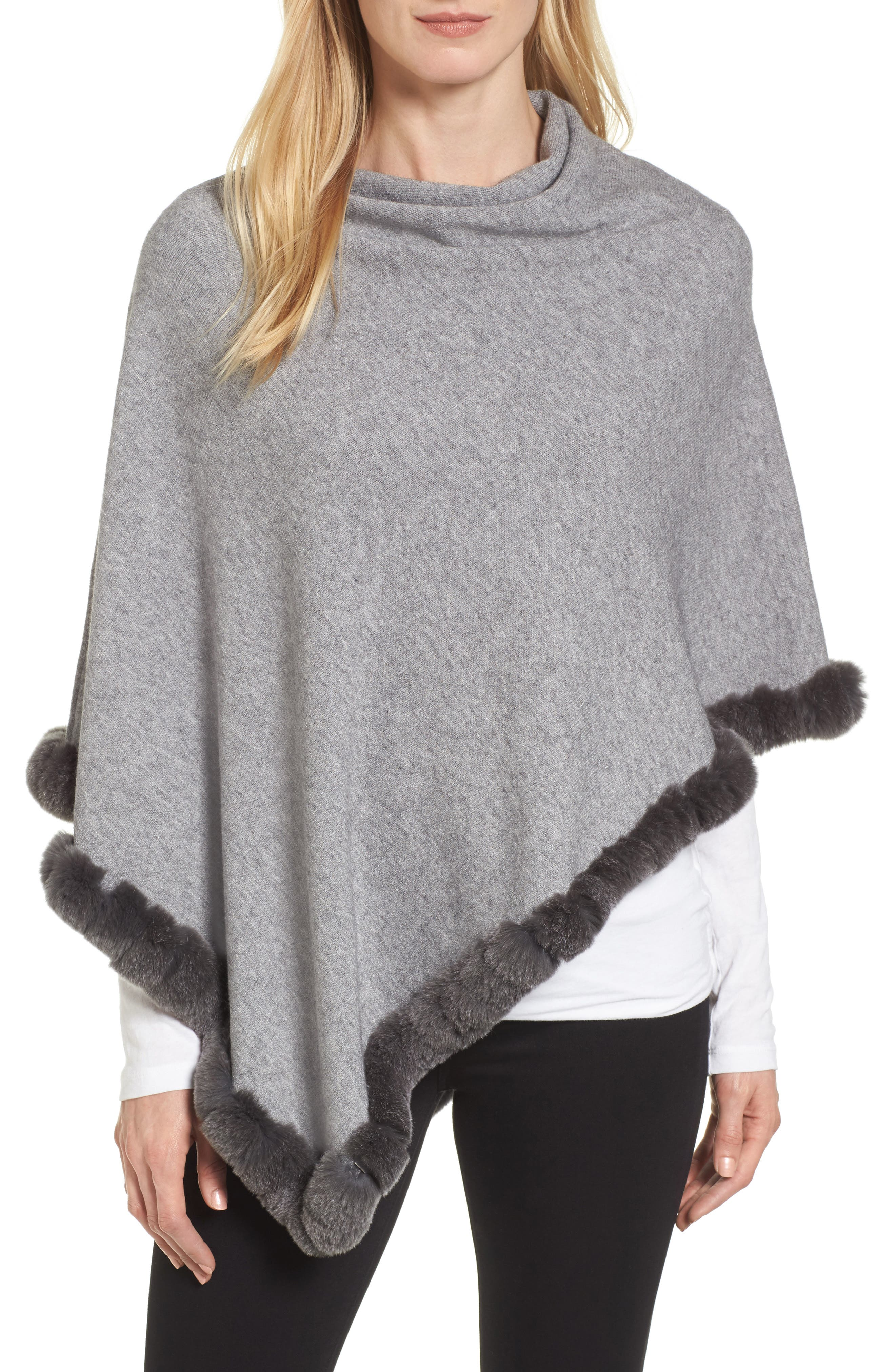 Alternate Image 1 Selected - La Fiorentina Angled Poncho with Genuine Rabbit Fur Trim
