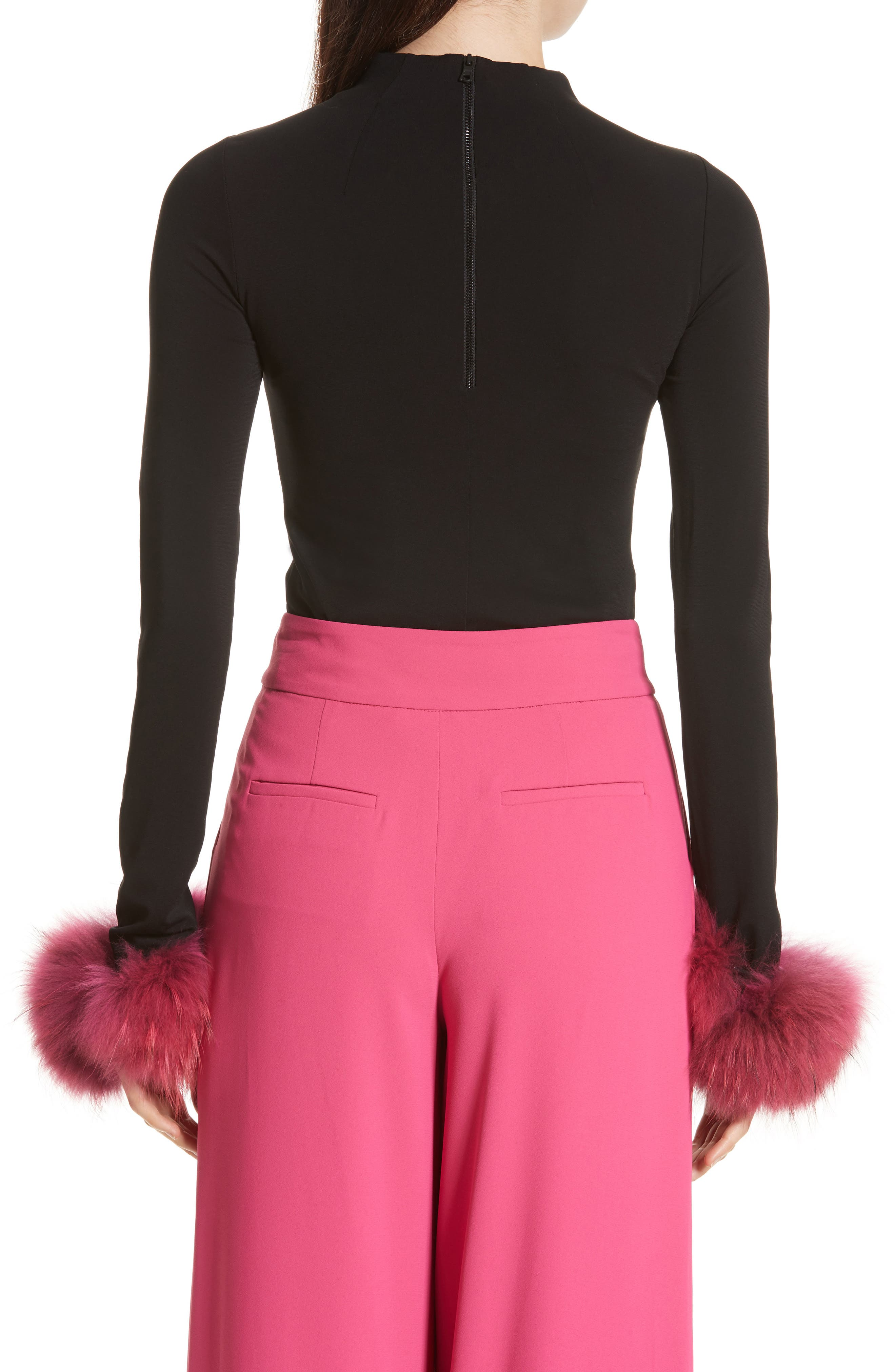 Alternate Image 2  - Alice + Olivia Haylen Genuine Fox Fur Cuff Top