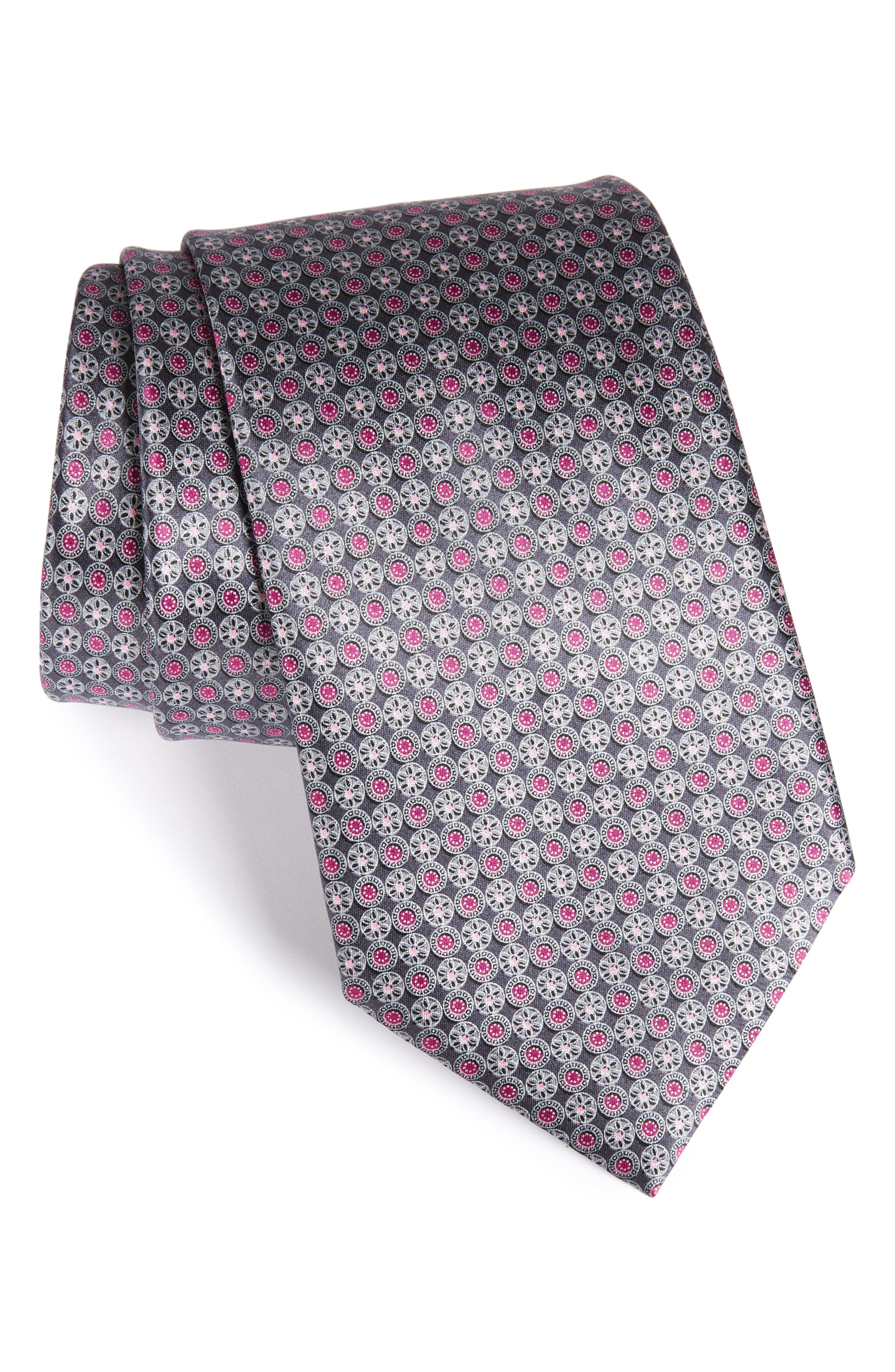 Medallion Silk Tie,                         Main,                         color, Medium Grey