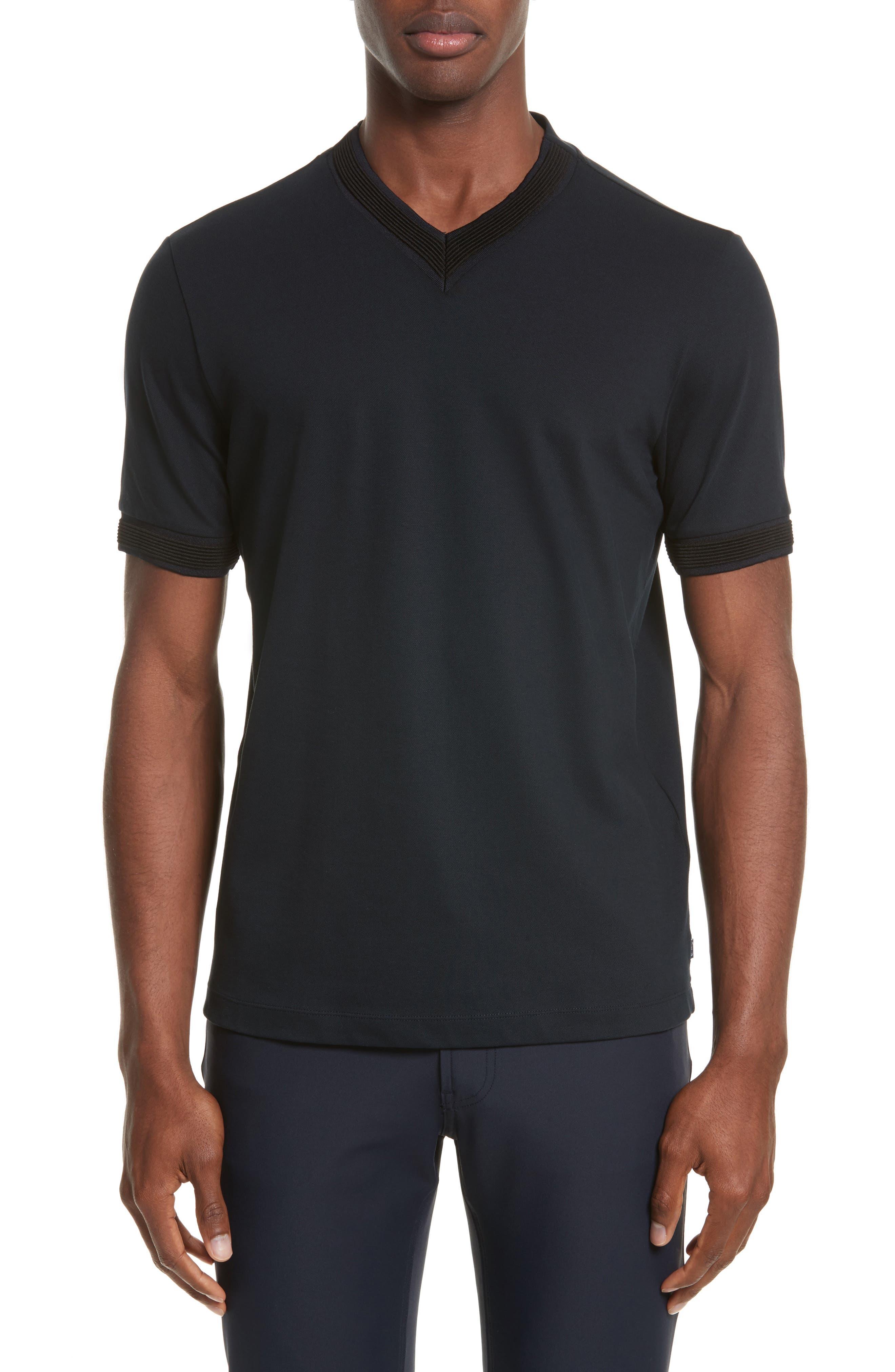 Ribbed V-Neck T-Shirt,                         Main,                         color, Navy Blue