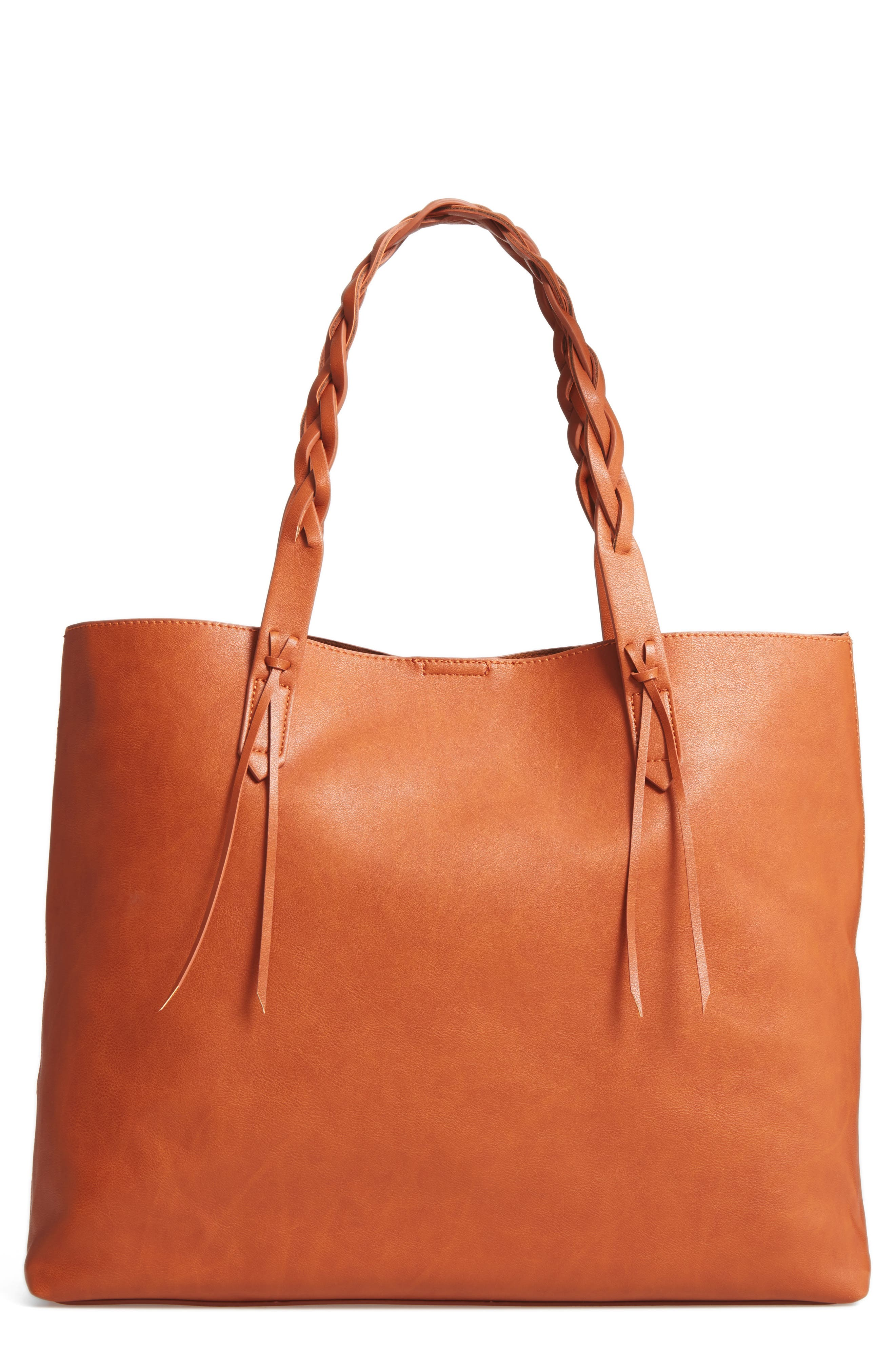 Amal Faux Leather Tote,                             Main thumbnail 1, color,                             Cognac
