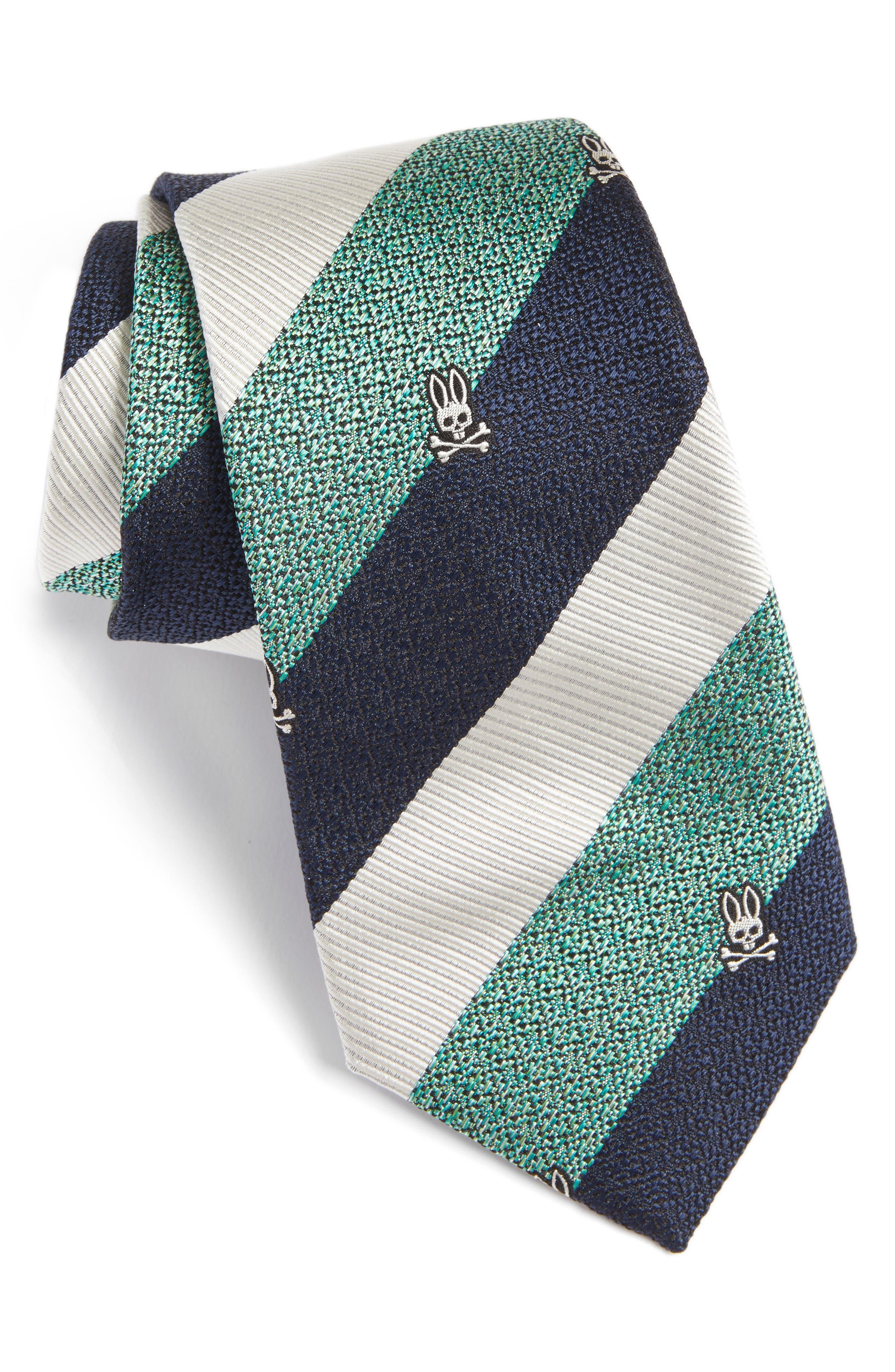 Psycho Bunny Wide Stripe Silk Tie