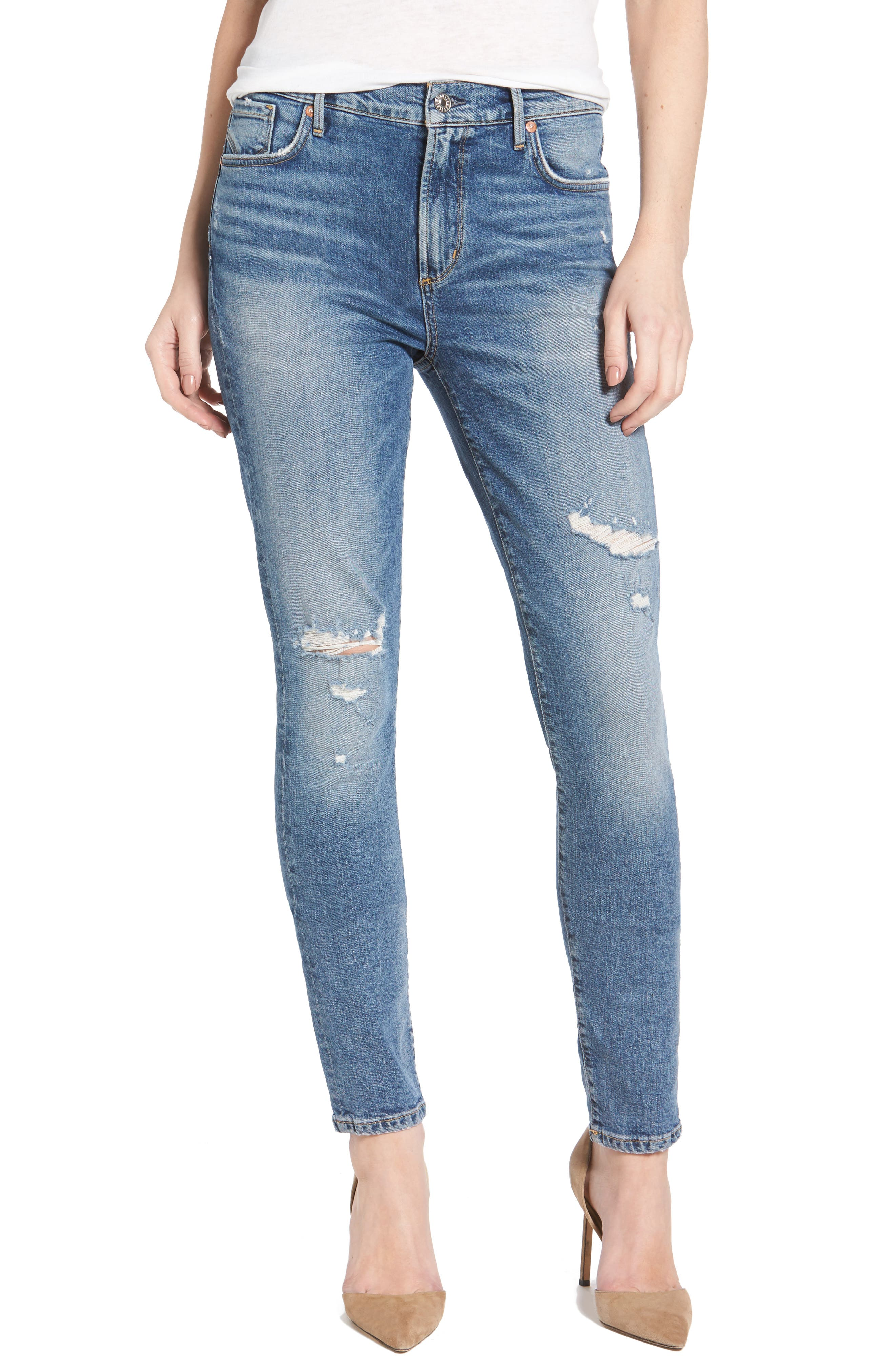 Main Image - AGOLDE Sophie Distressed High Waist Skinny Jeans (Anthem)