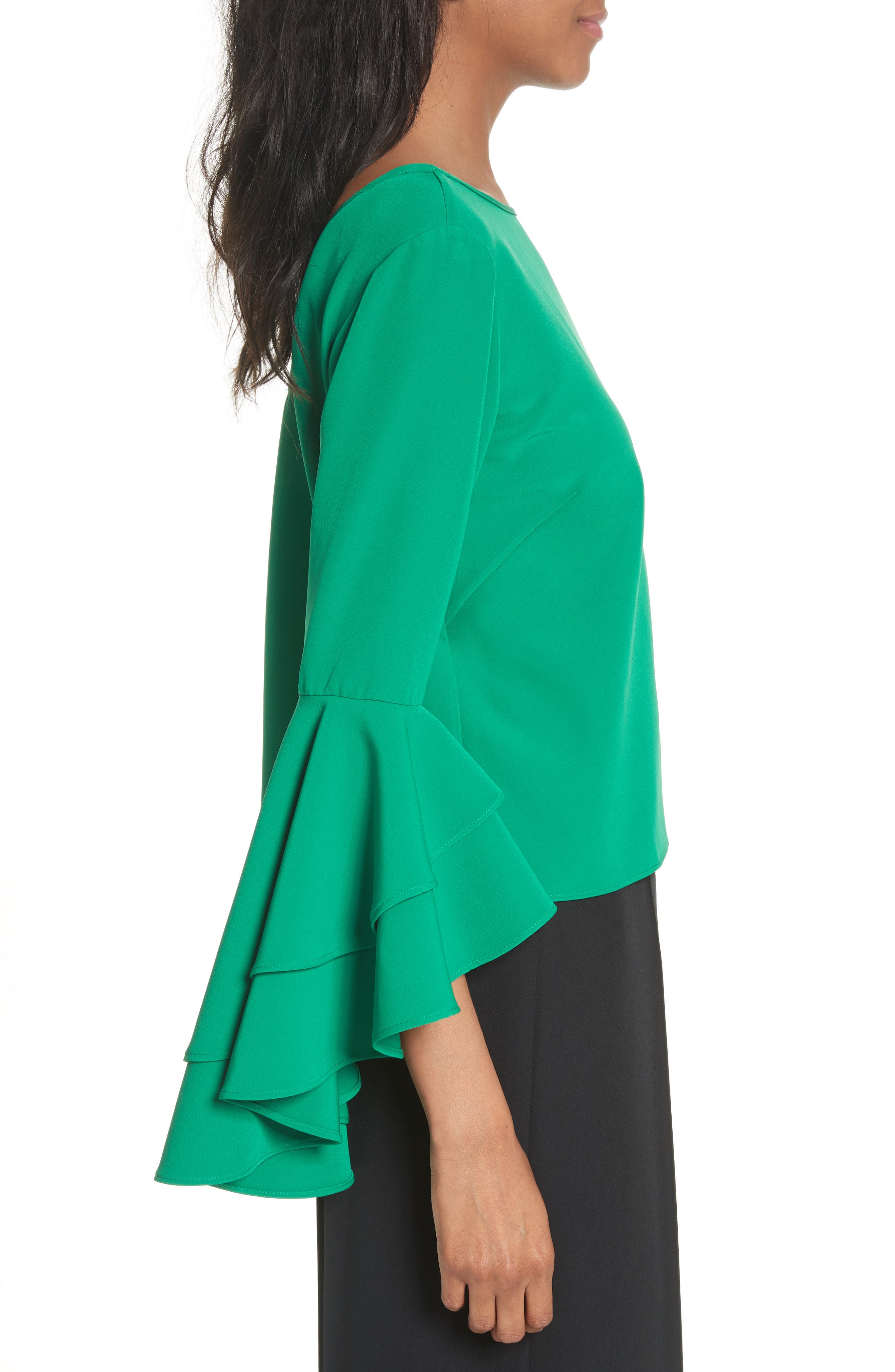 Alternate Image 4  - Milly Annie Cascade Sleeve Stretch Cady Top