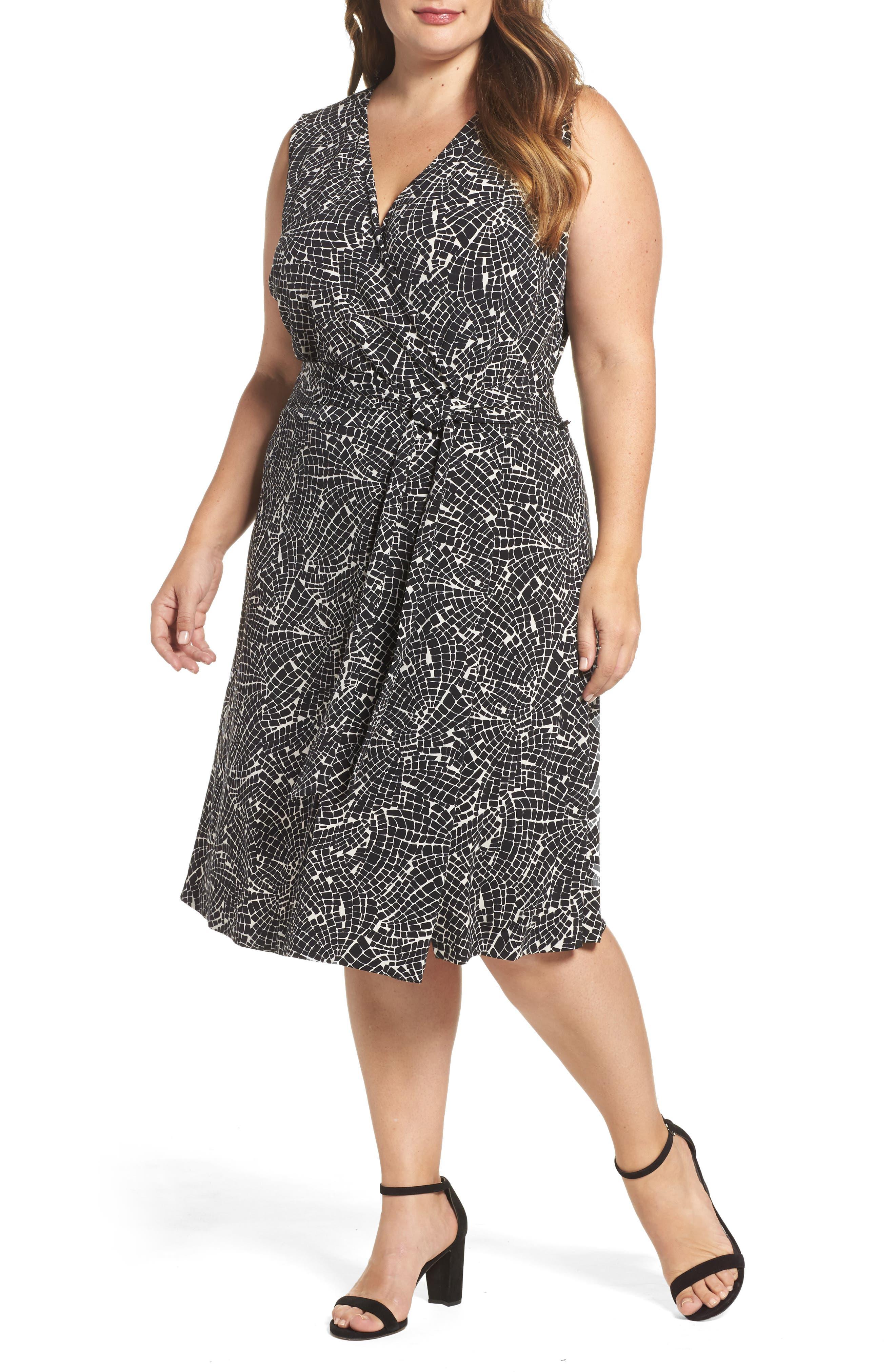 Modern Mosaic Wrap Dress,                         Main,                         color, Rich Black