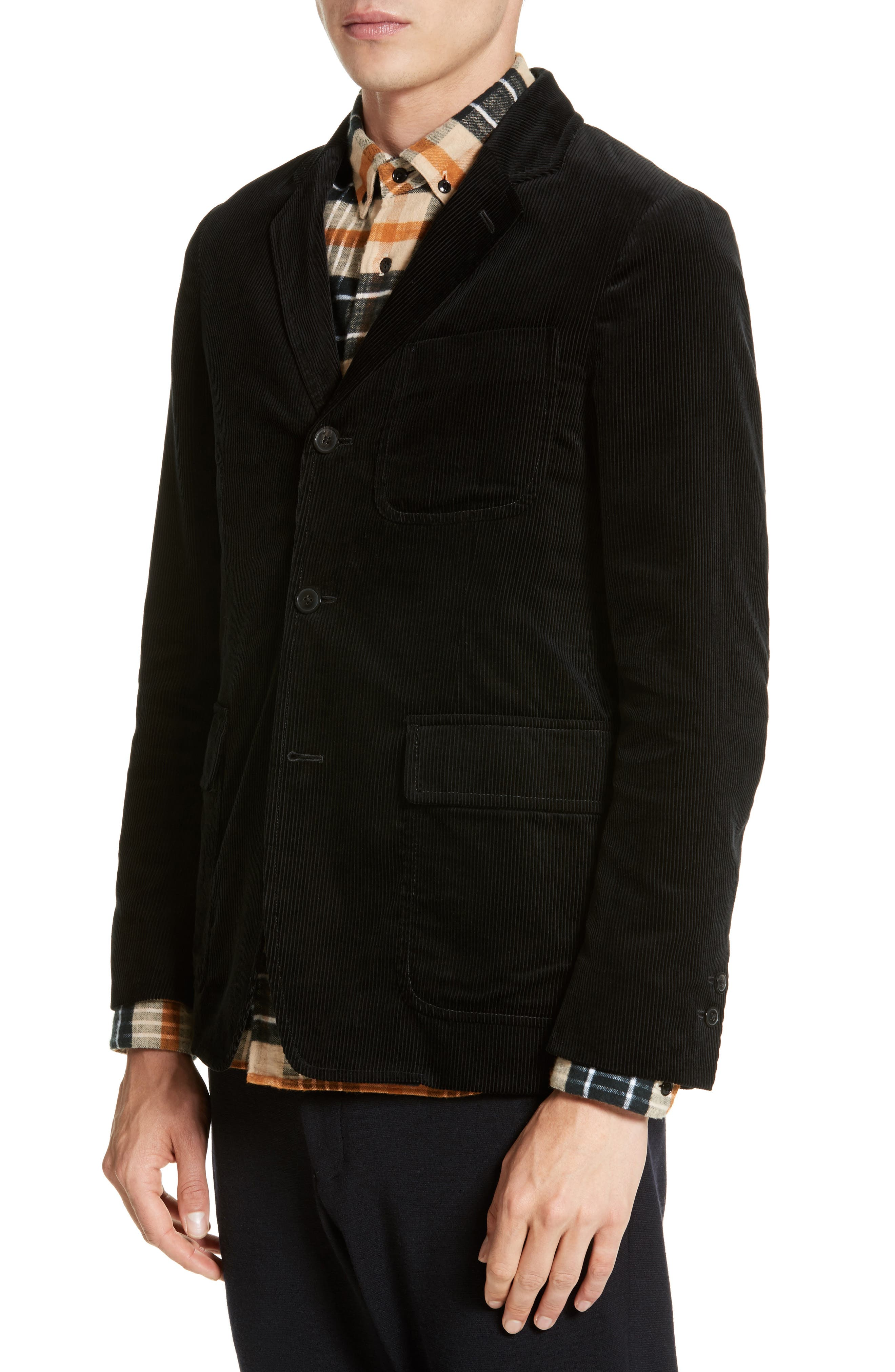 Sea Island Corduroy Jacket,                             Alternate thumbnail 4, color,                             Black