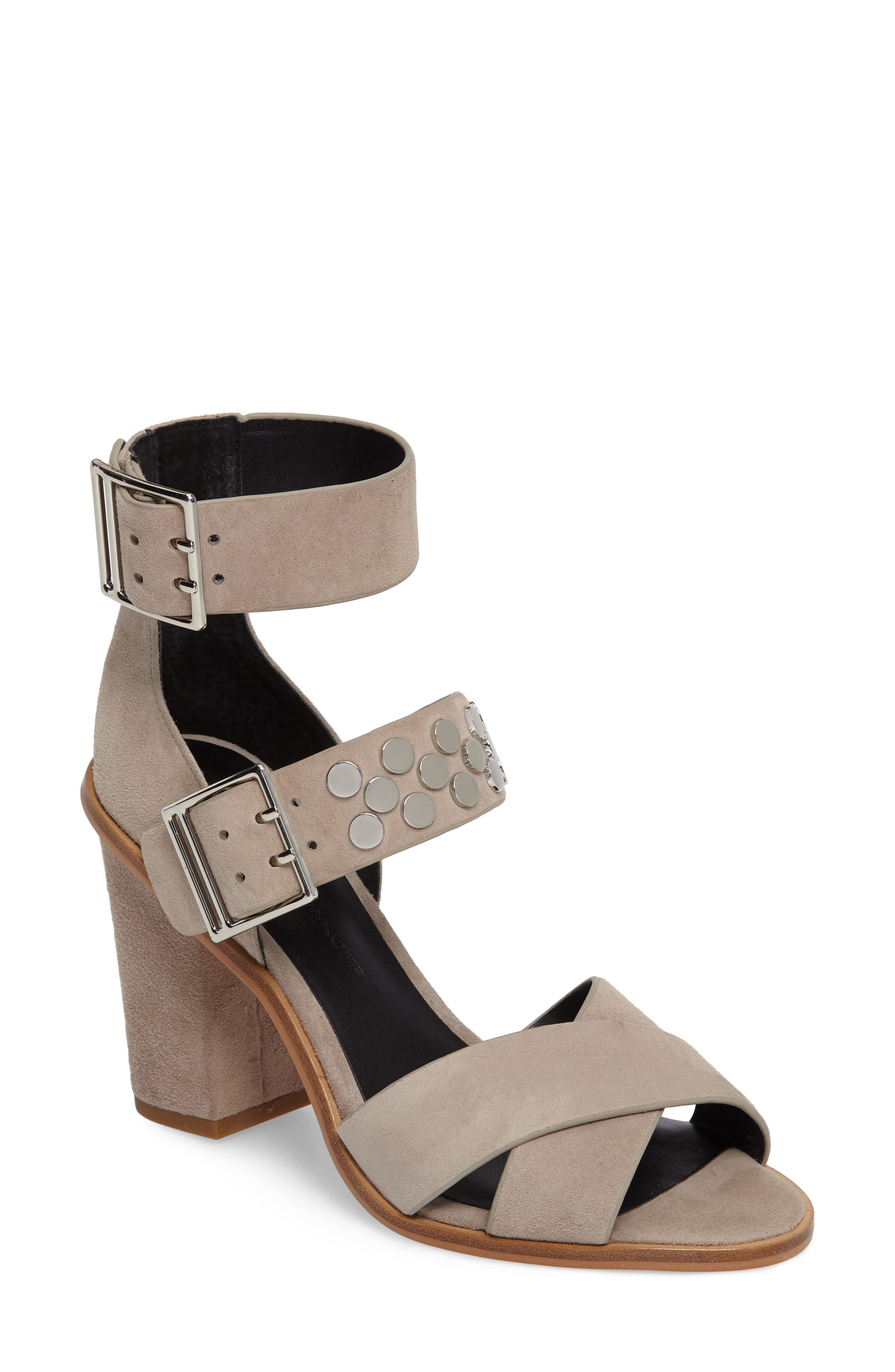 Jennifer Studded Ankle Cuff Sandal,                             Main thumbnail 1, color,                             Sand