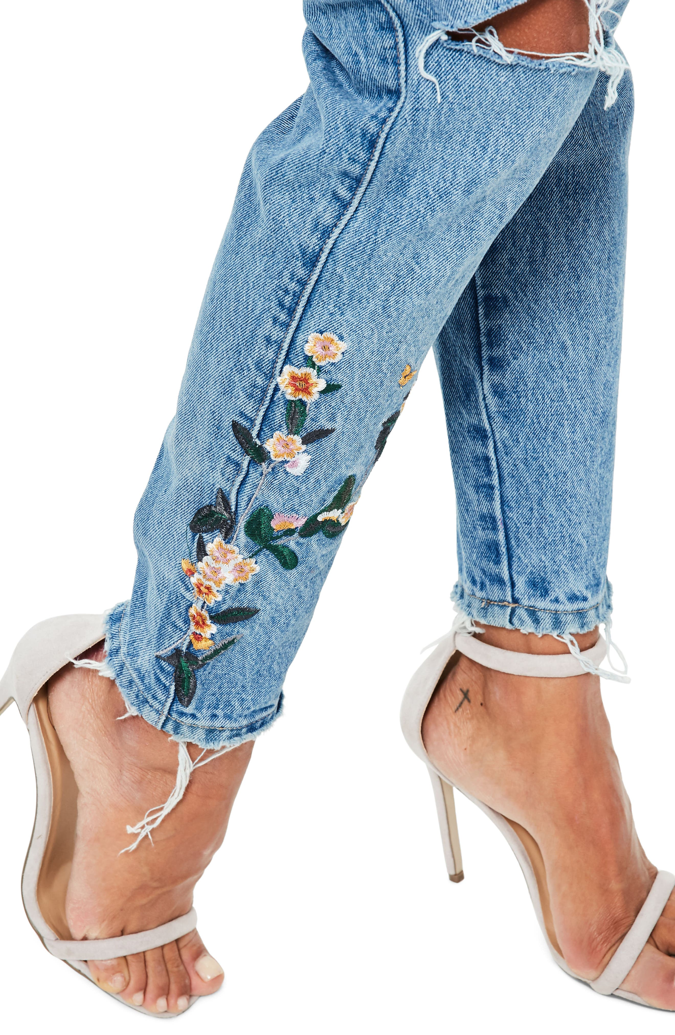 Riot Ripped High Waist Embroidered Jeans,                             Alternate thumbnail 4, color,                             Blue