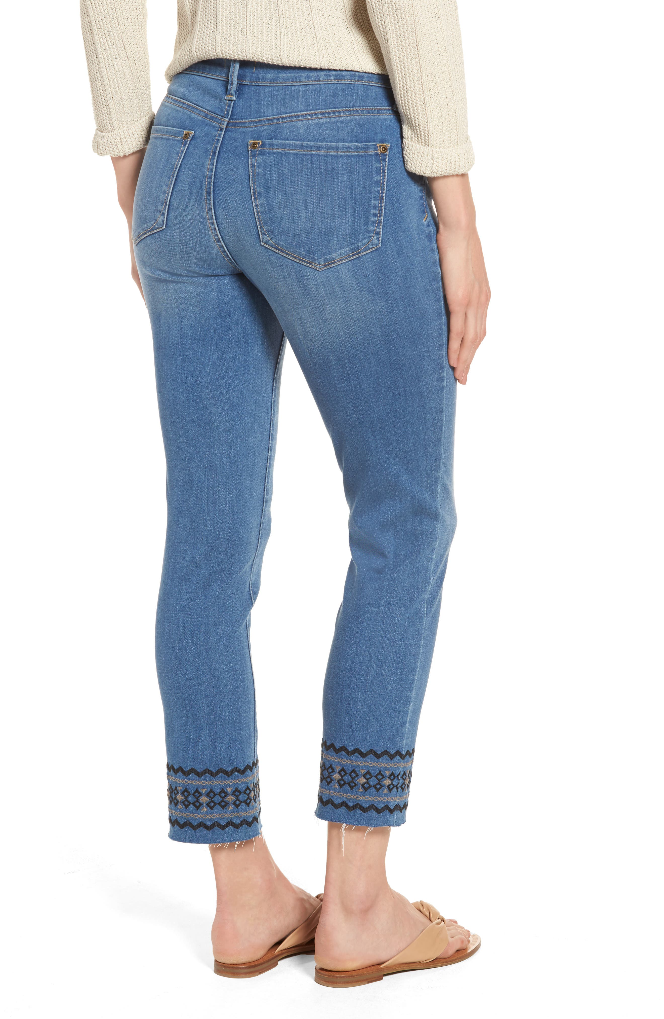 Alternate Image 2  - NYDJ Sheri Embroidered Stretch Slim Crop Jeans (Evansdale)