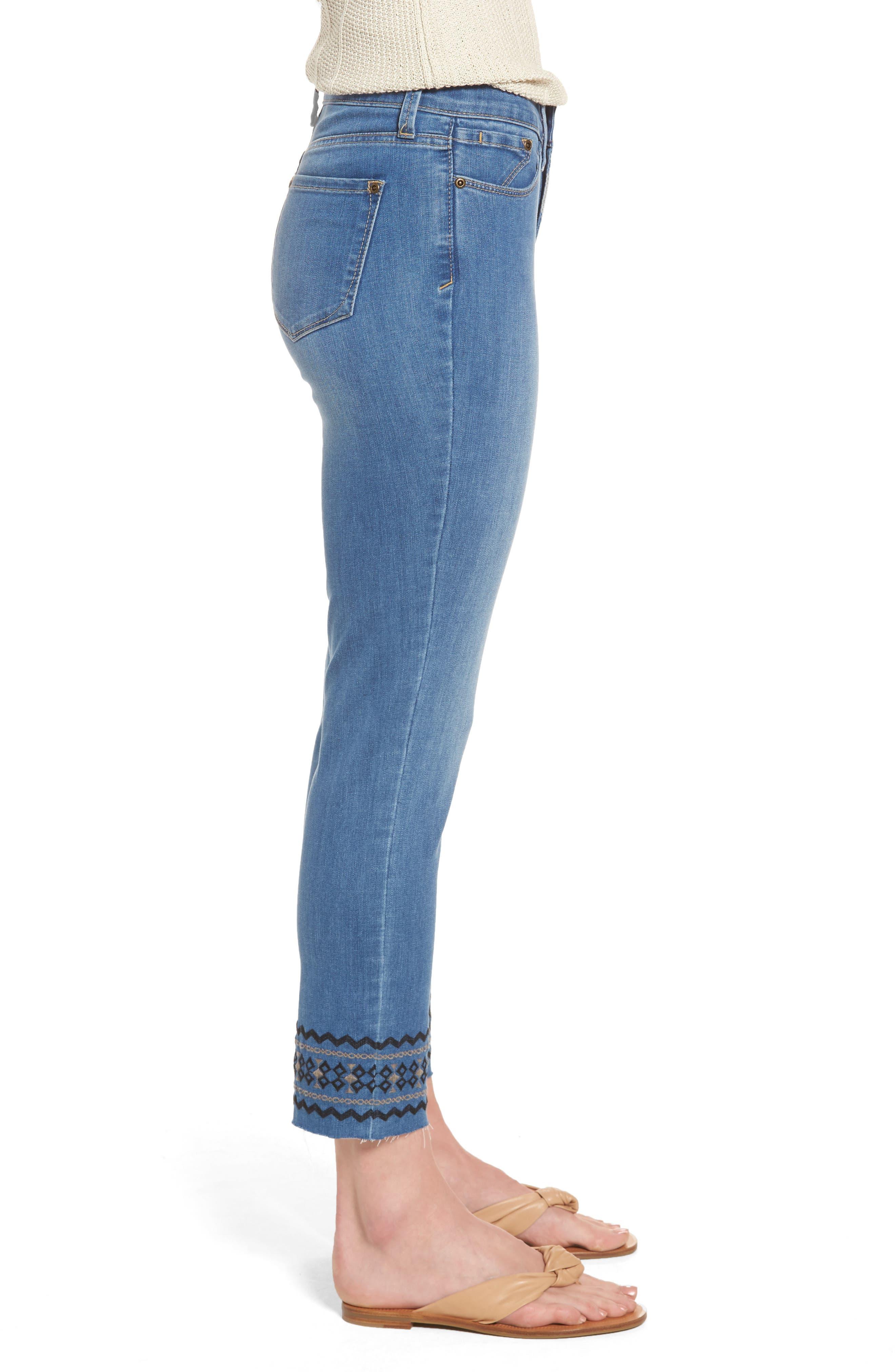 Alternate Image 3  - NYDJ Sheri Embroidered Stretch Slim Crop Jeans (Evansdale)