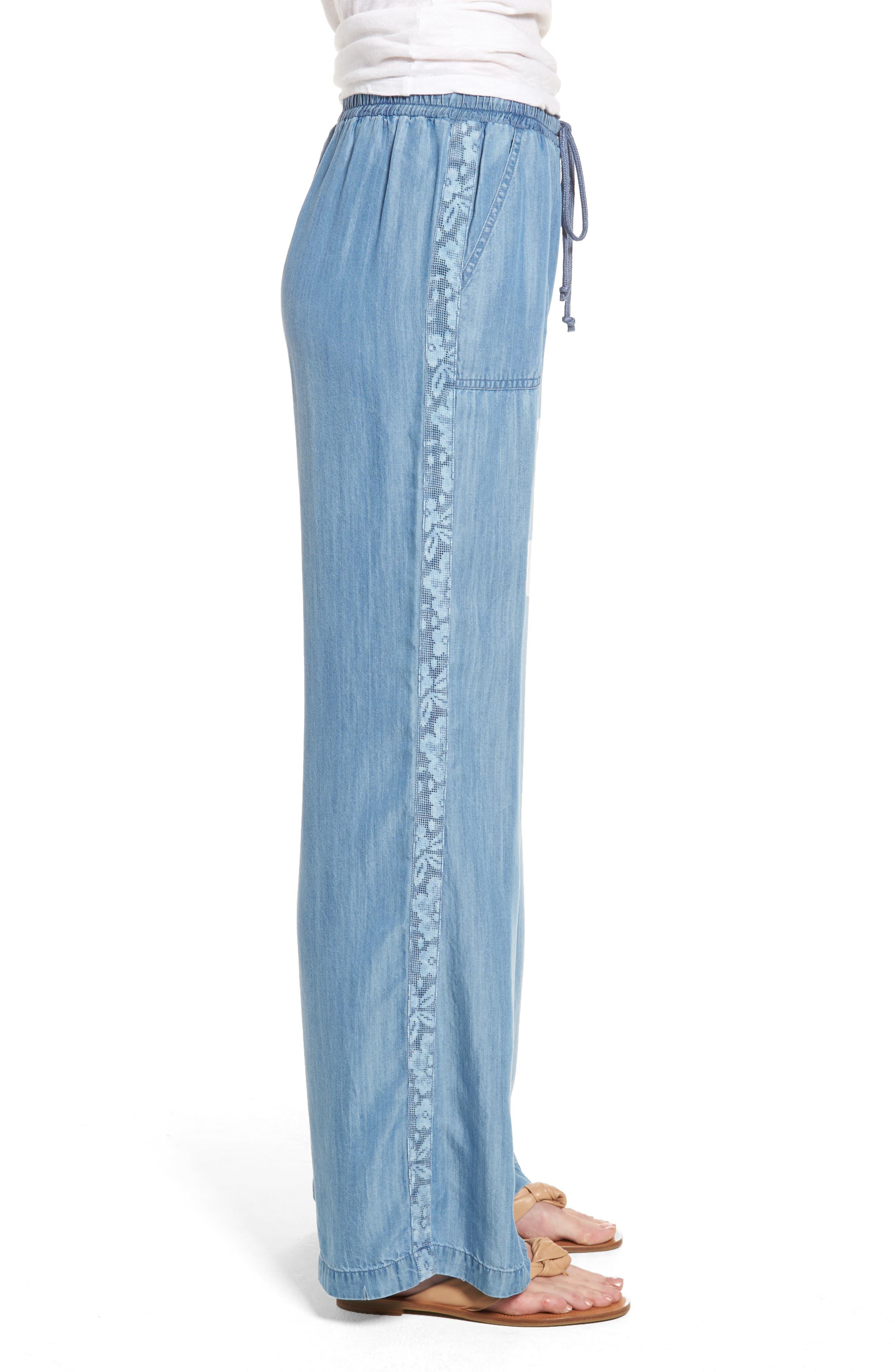 Drawstring Wide Leg Pants,                             Alternate thumbnail 3, color,                             Medium Blue
