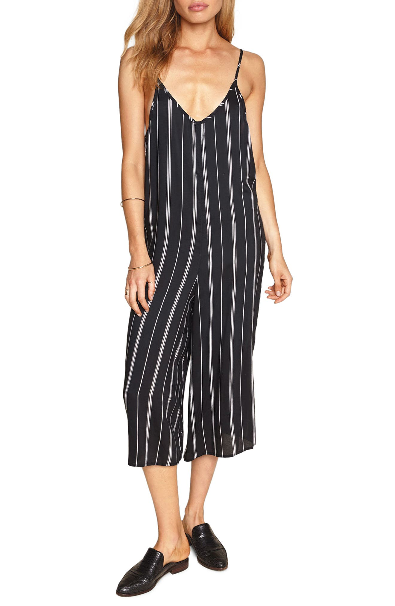 Colton Stripe Crop Jumpsuit,                             Main thumbnail 1, color,                             Black Sands
