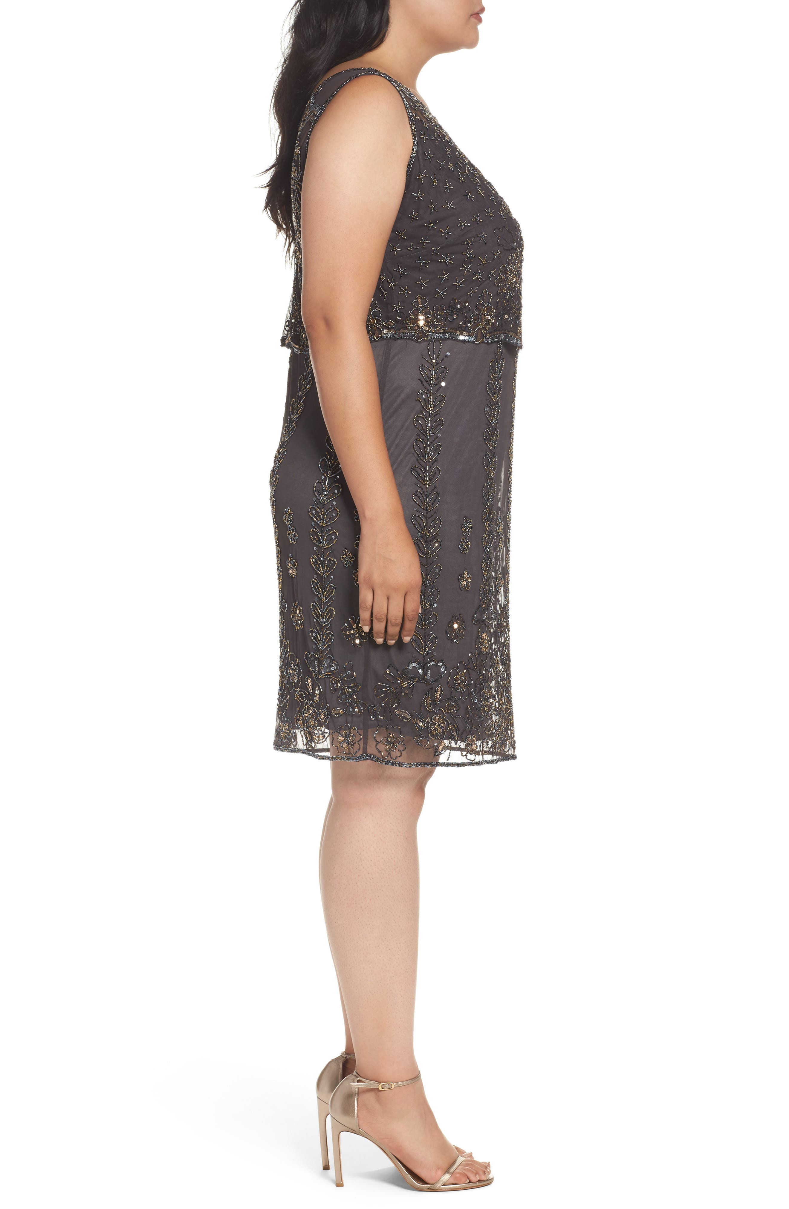 Alternate Image 3  - Pisarro Nights Embellished Popover Bodice Sheath Dress (Plus Size)