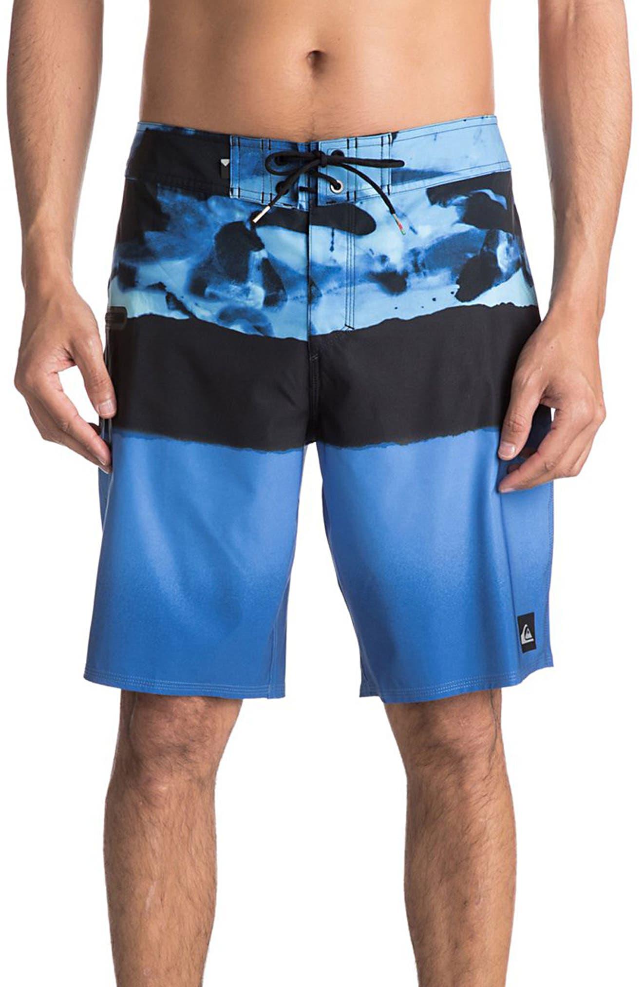 Blocked Resin Board Shorts,                             Main thumbnail 1, color,                             Moroccan Blue