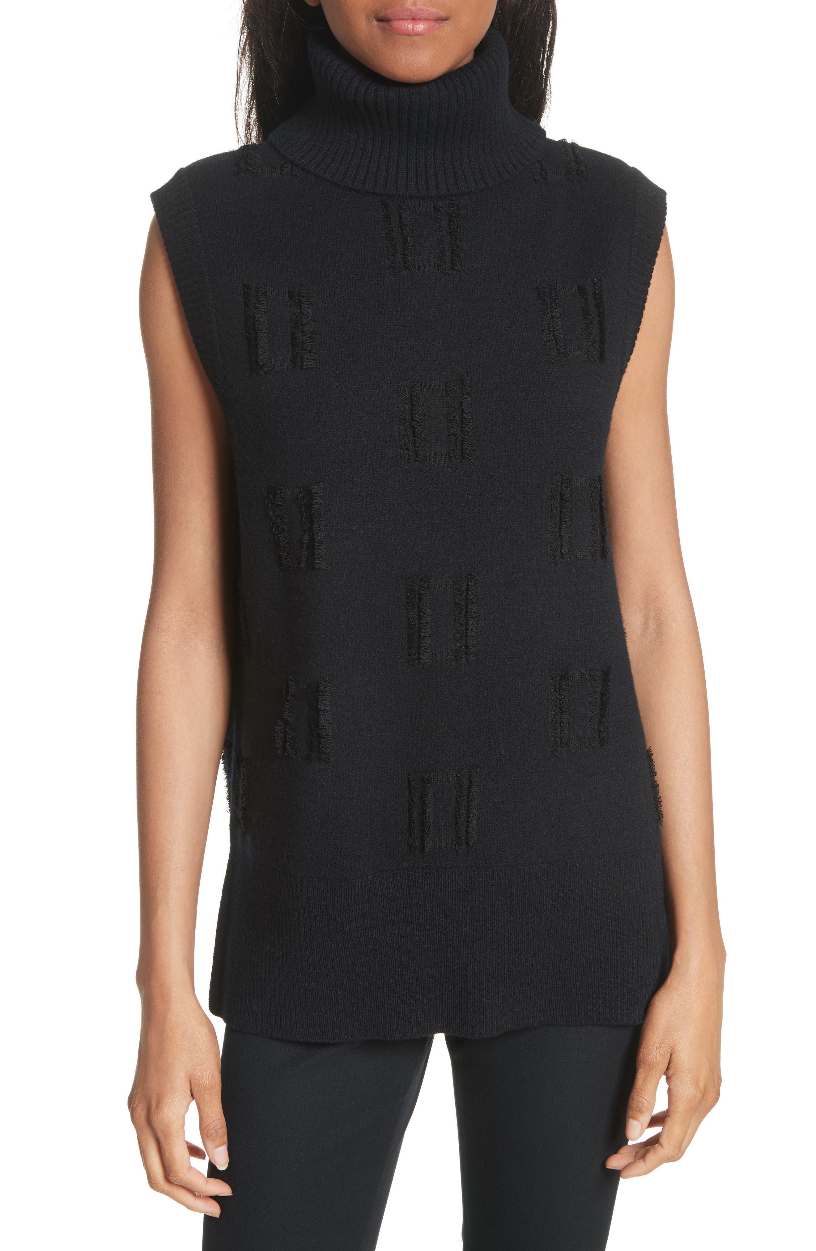 Fringe Trim Turtleneck Sweater,                             Main thumbnail 1, color,                             Black