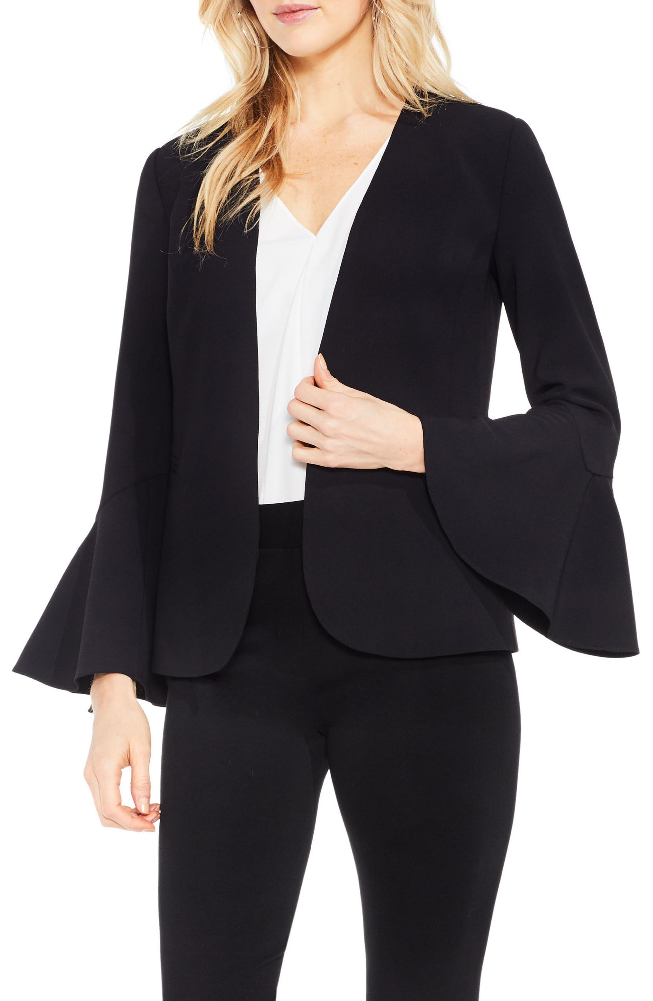 Bell Sleeve Blazer,                         Main,                         color, Rich Black