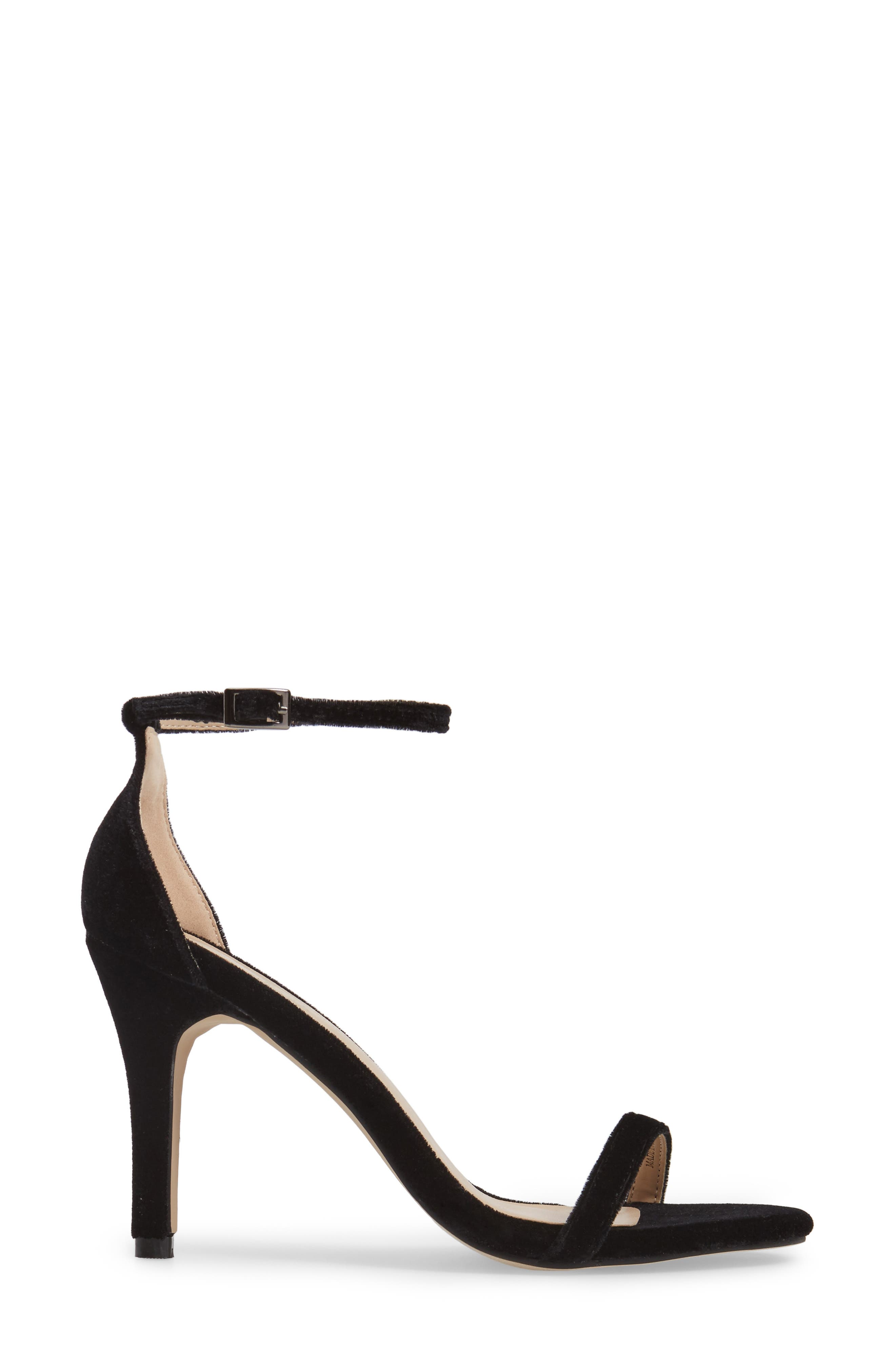 Mini Ankle Strap Sandal,                             Alternate thumbnail 3, color,                             Black Velvet