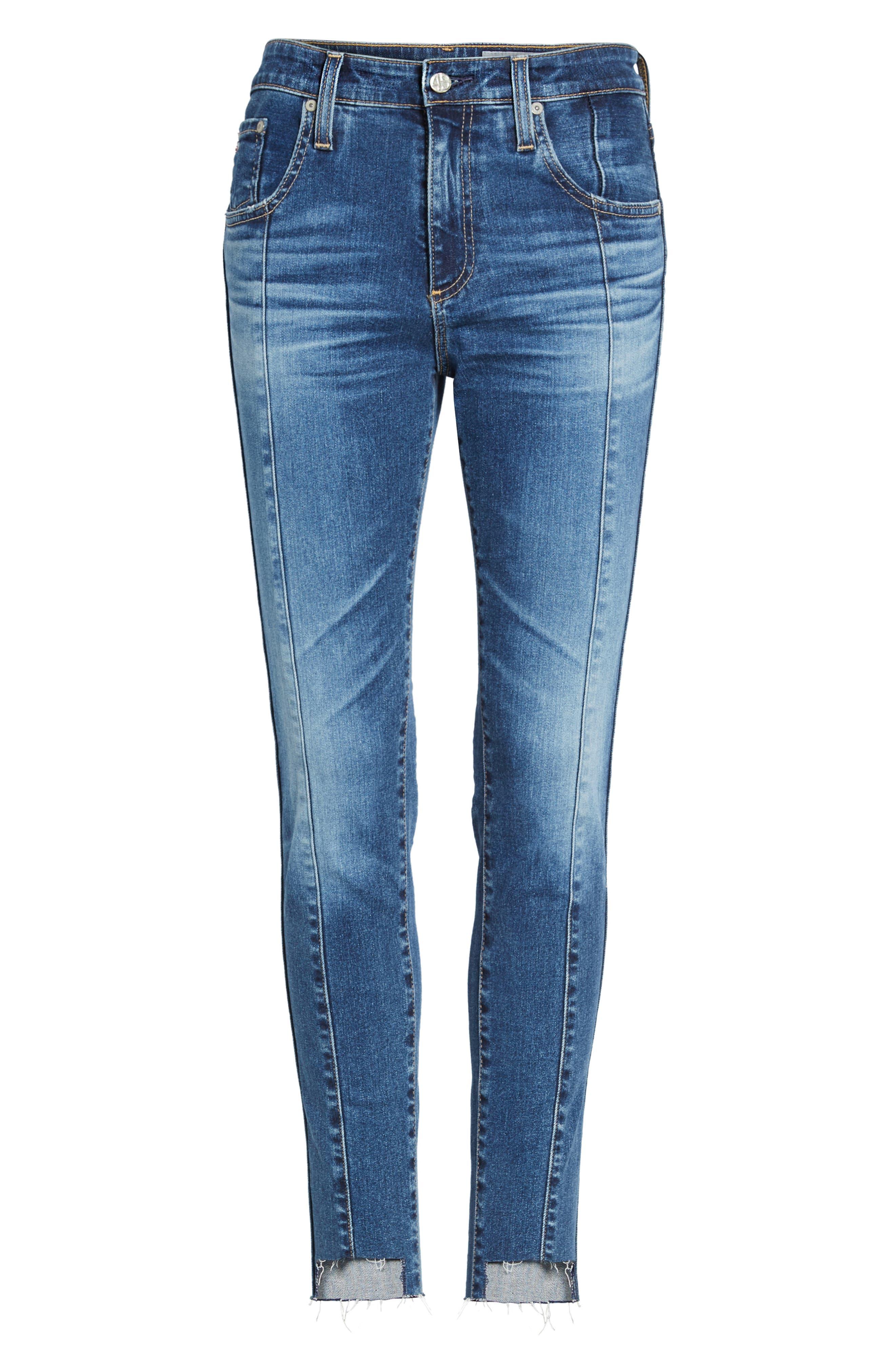 Alternate Image 6  - AG The High Rise Farrah Ankle Skinny Jeans (10 Years Rhythmic Blue)