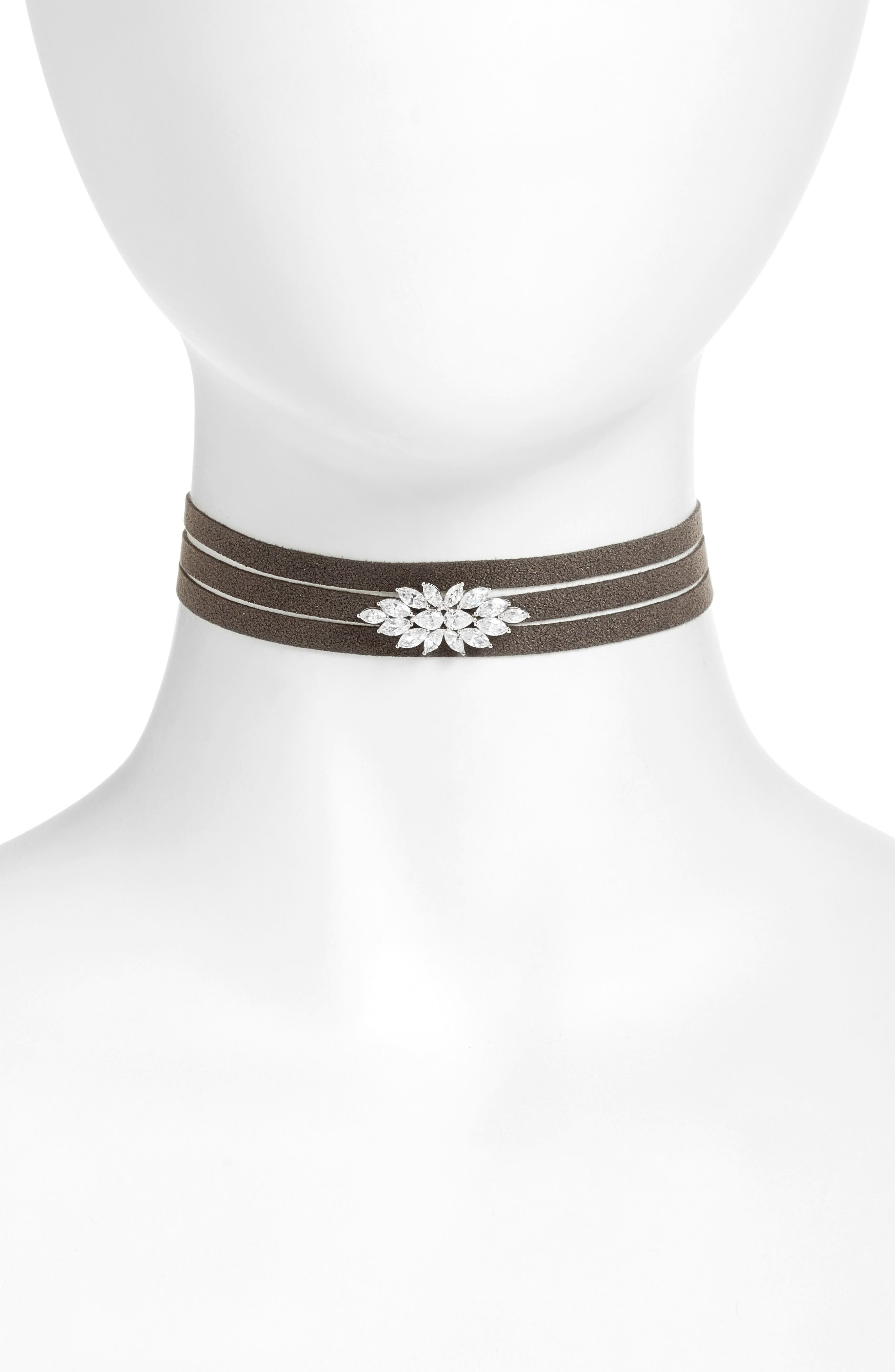 Wrap Choker Necklace,                         Main,                         color, Black