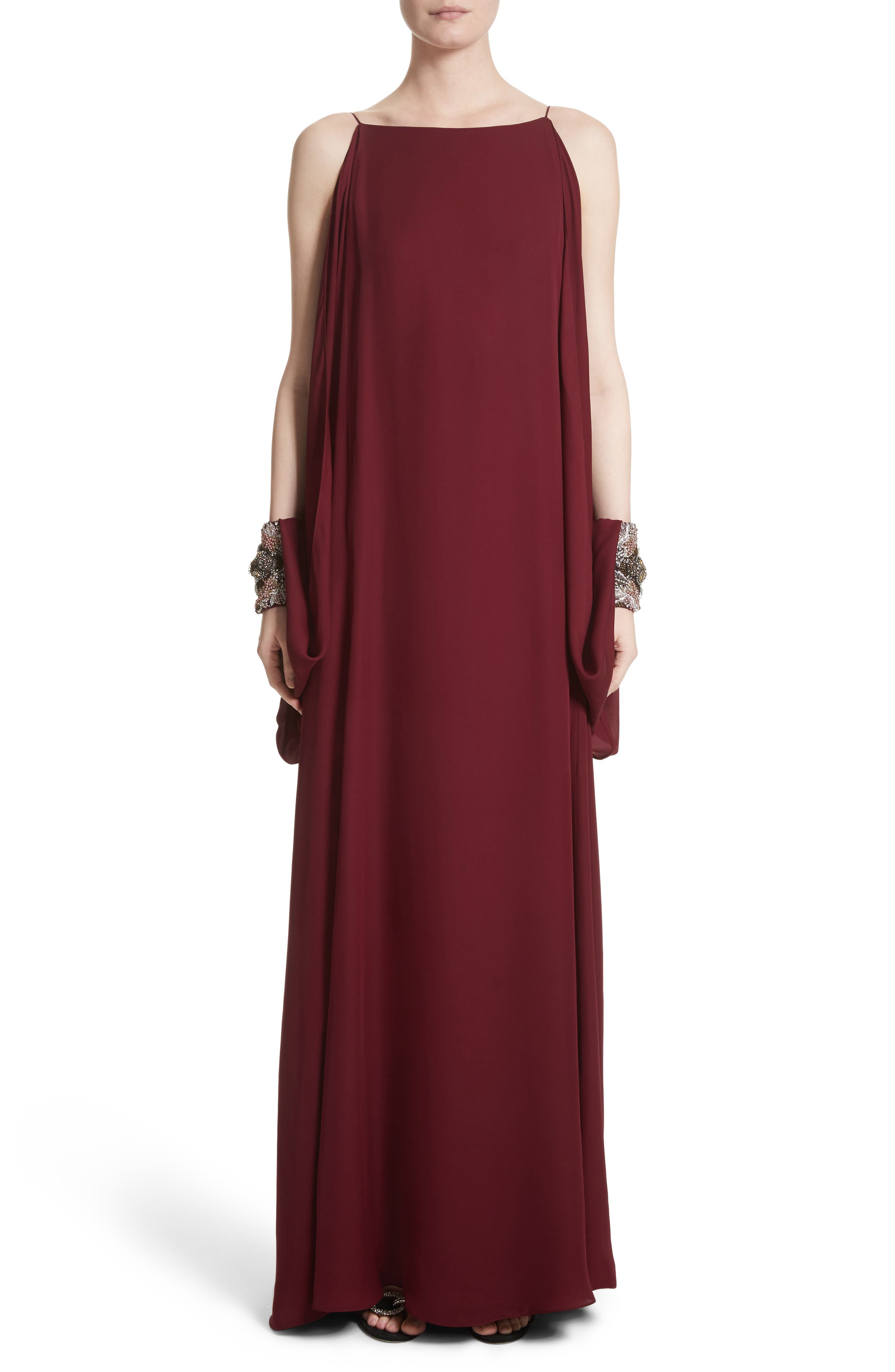 Badgley Mischka Couture Embellished Cuff Silk Caftan,                             Main thumbnail 1, color,                             Burgundy