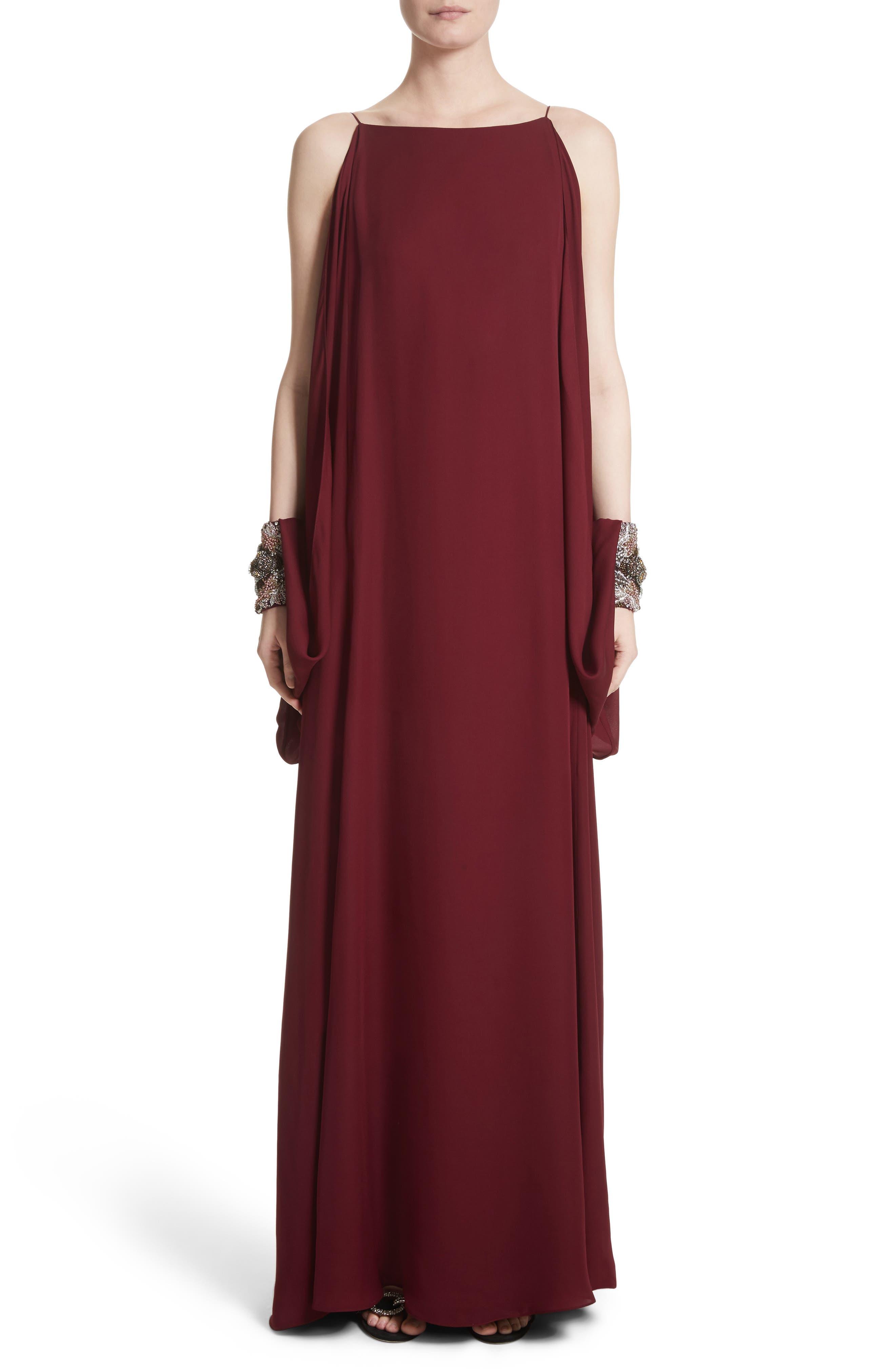 Badgley Mischka Couture Embellished Cuff Silk Caftan,                         Main,                         color, Burgundy