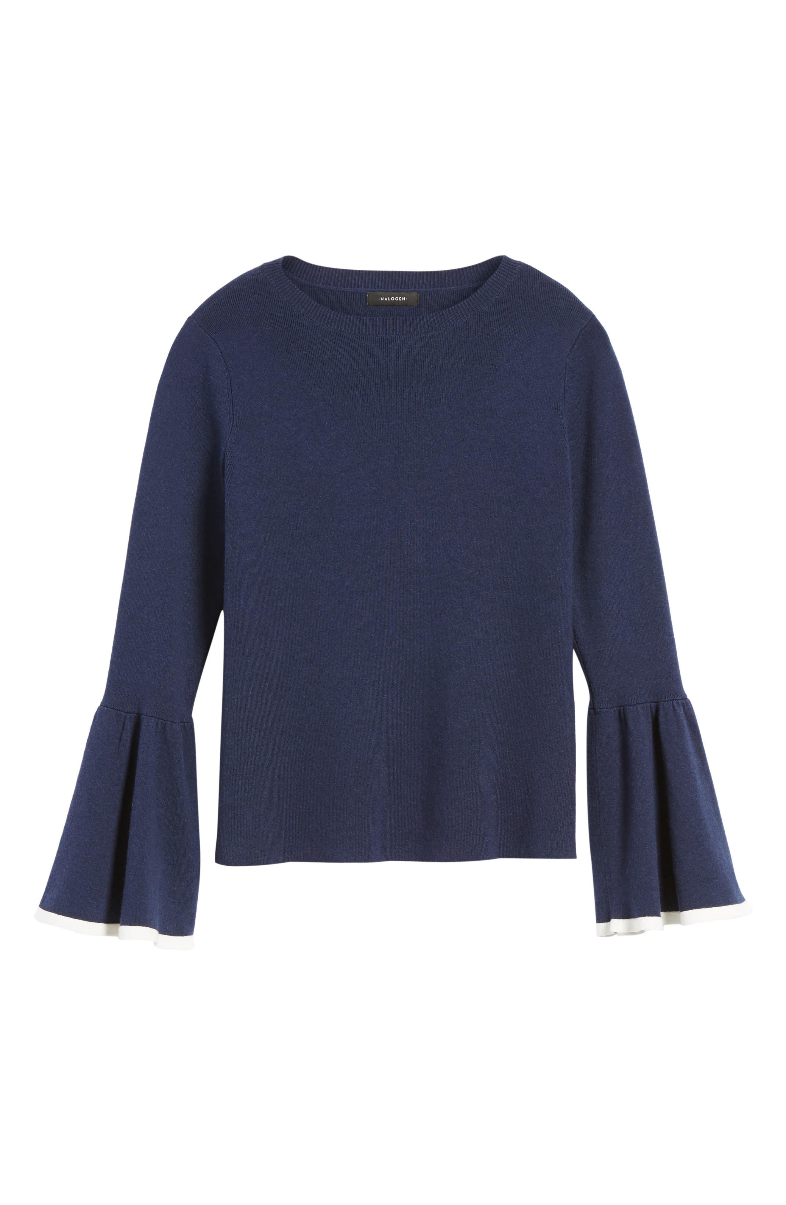 Flare Sleeve Sweater,                             Alternate thumbnail 7, color,                             Navy Peacoat