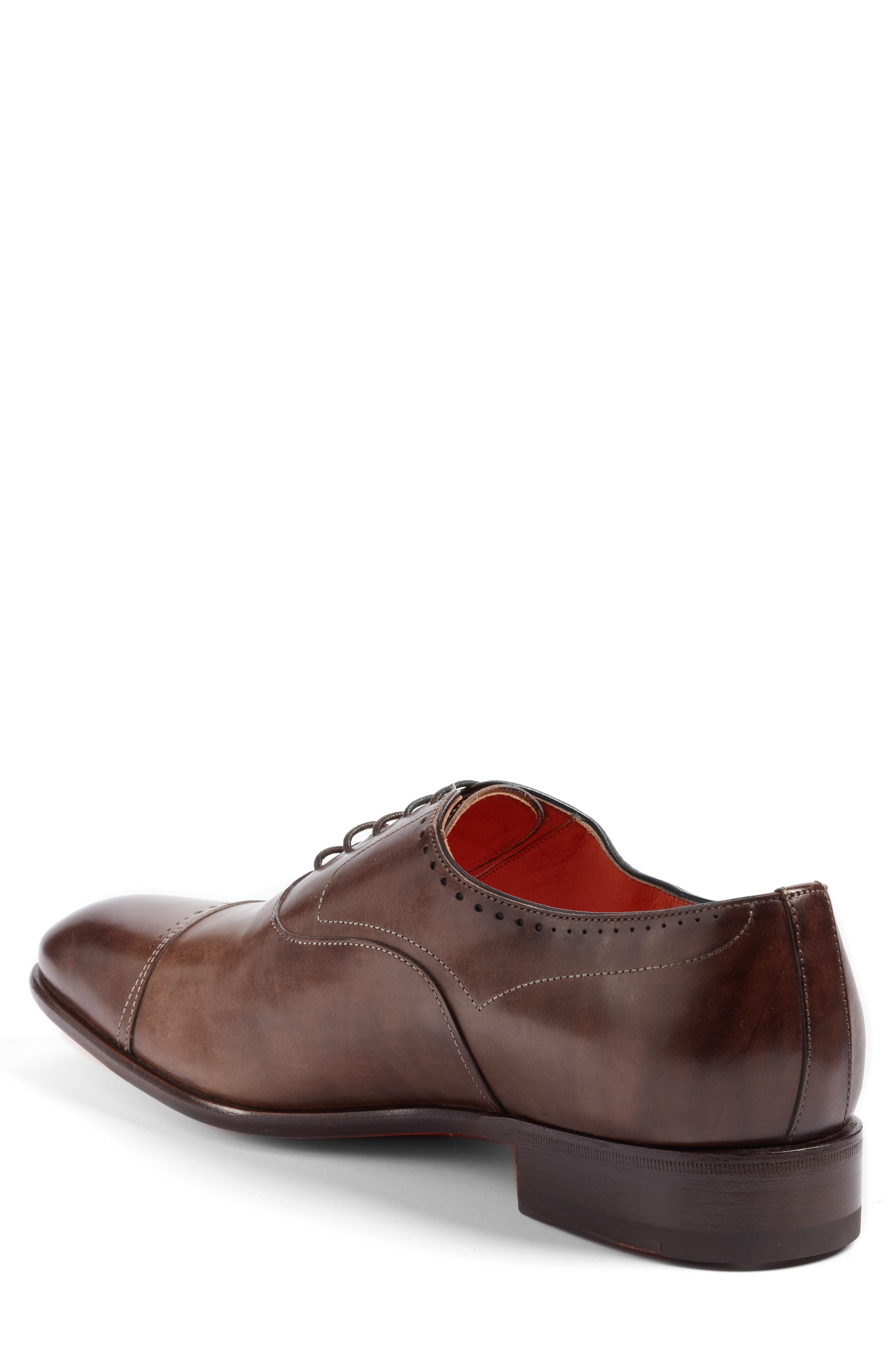 Thurman Cap Toe Oxford,                             Alternate thumbnail 2, color,                             Dark Brown Leather