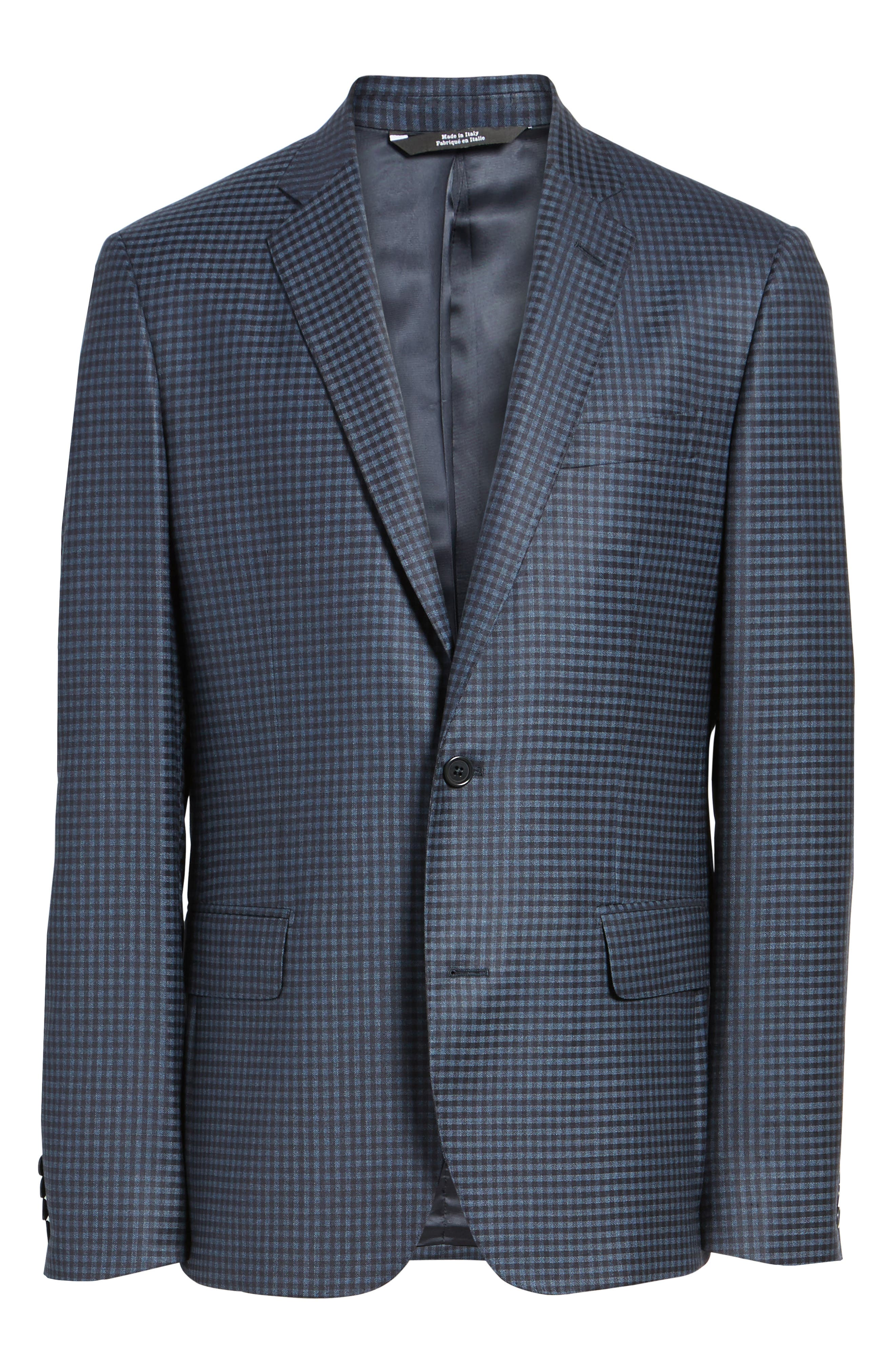 Classic Fit Check Wool Sport Coat,                             Alternate thumbnail 7, color,                             Navy