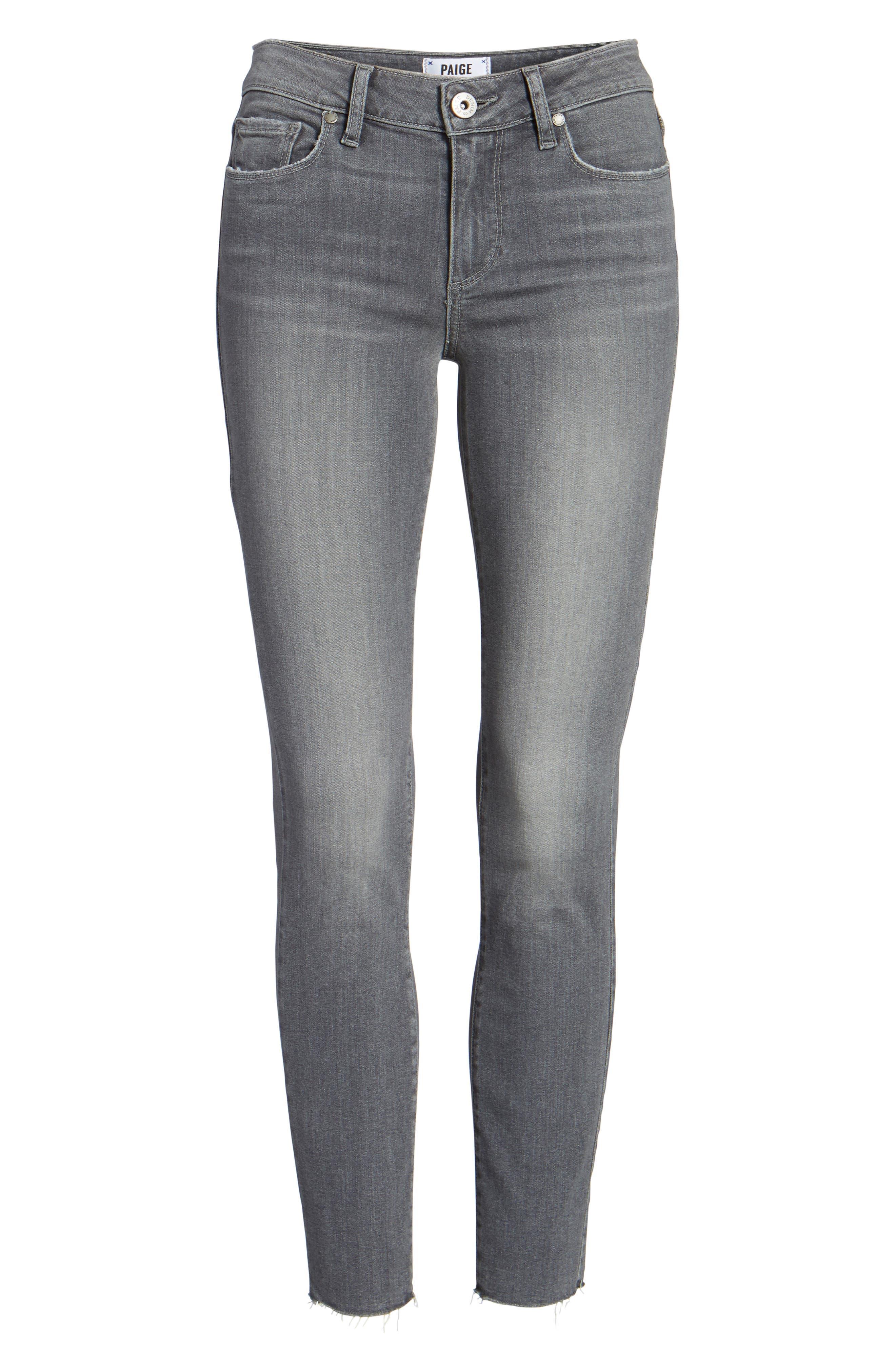 Alternate Image 7  - PAIGE Verdugo Raw Hem Ankle Skinny Jeans (Sea Salt)