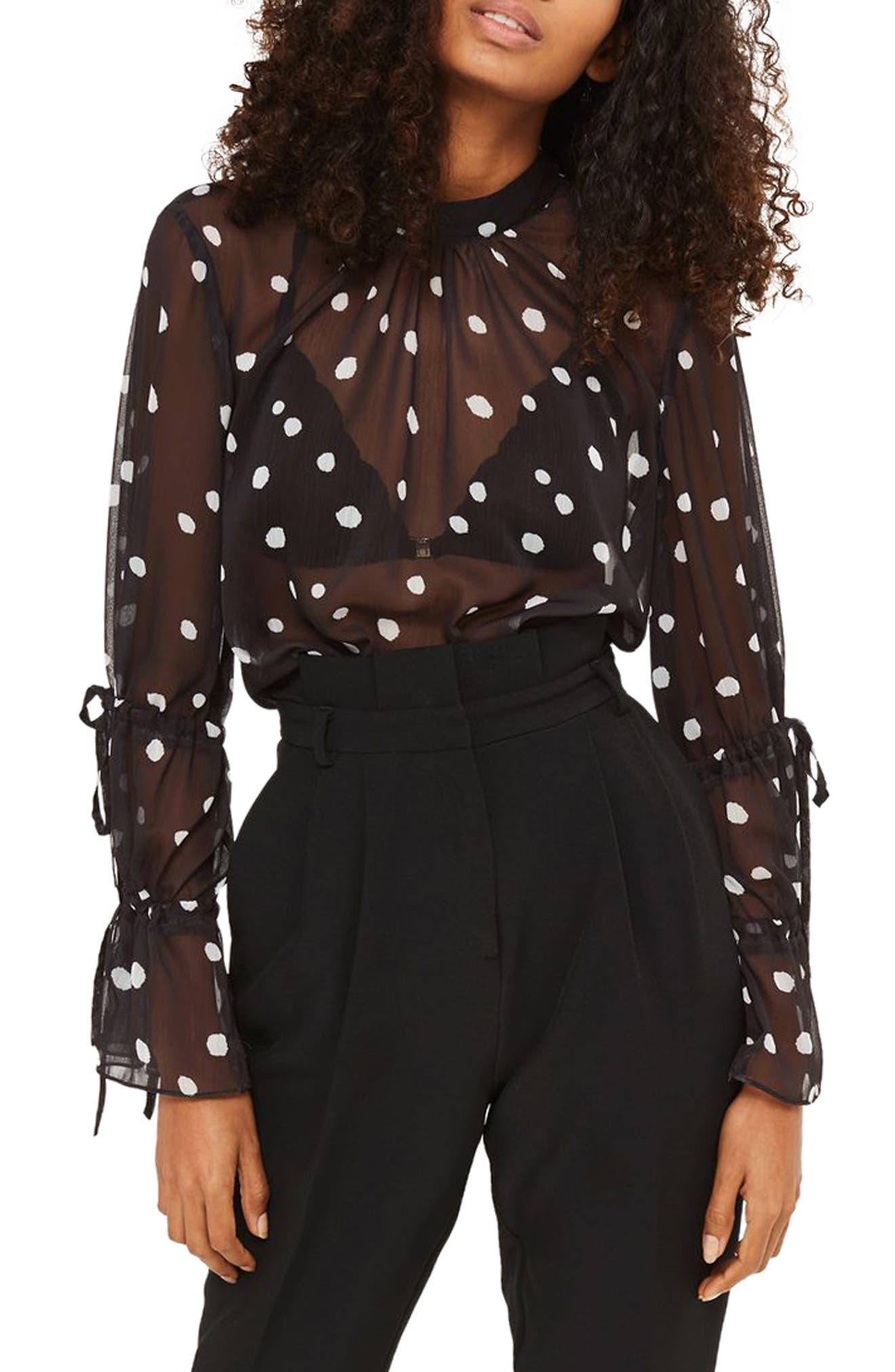 Drawstring Sleeve Sheer Dot Blouse,                         Main,                         color, Black Multi