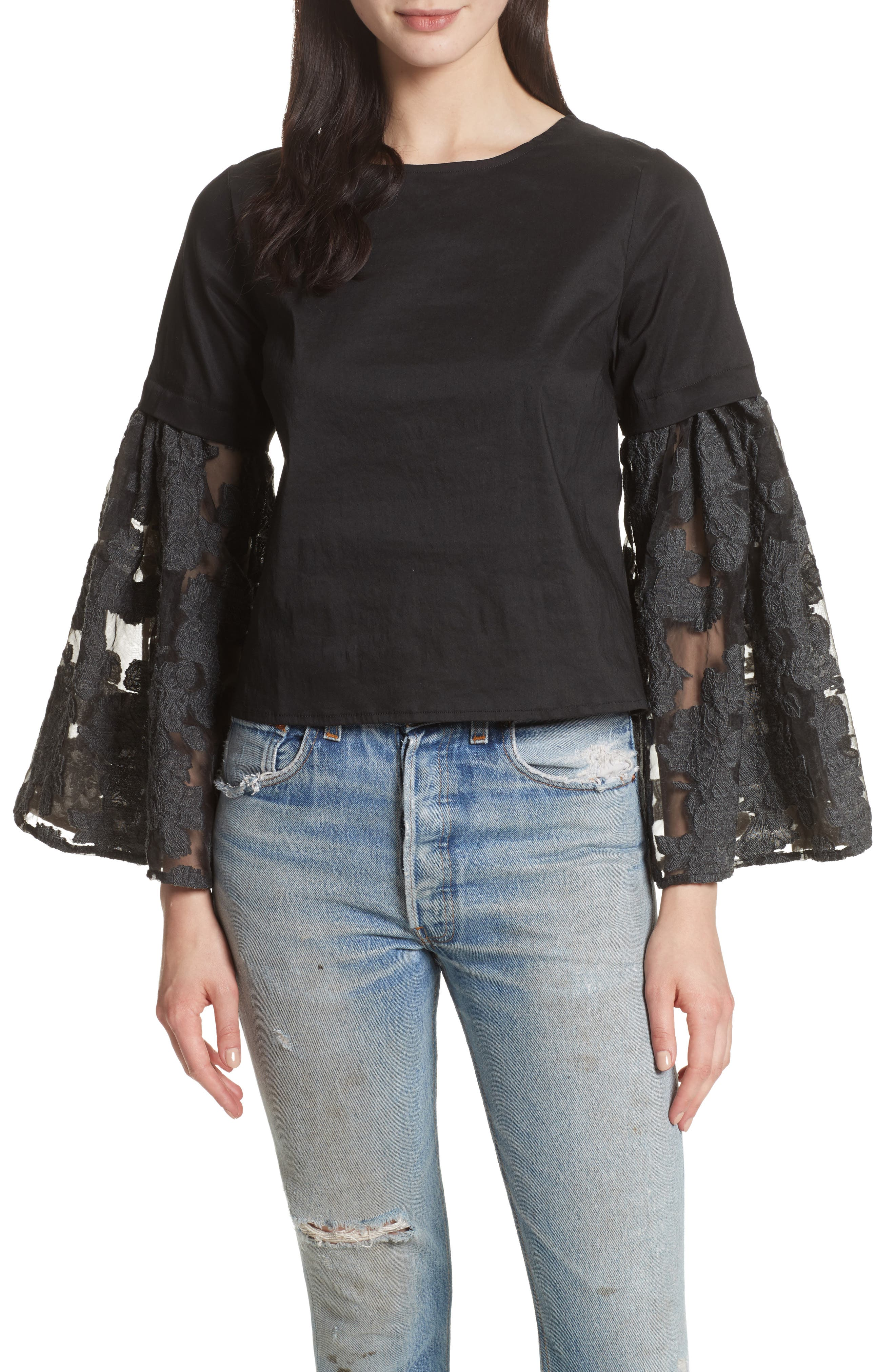 Lace Lace-Up Back Bell Sleeve Blouse,                         Main,                         color, Black