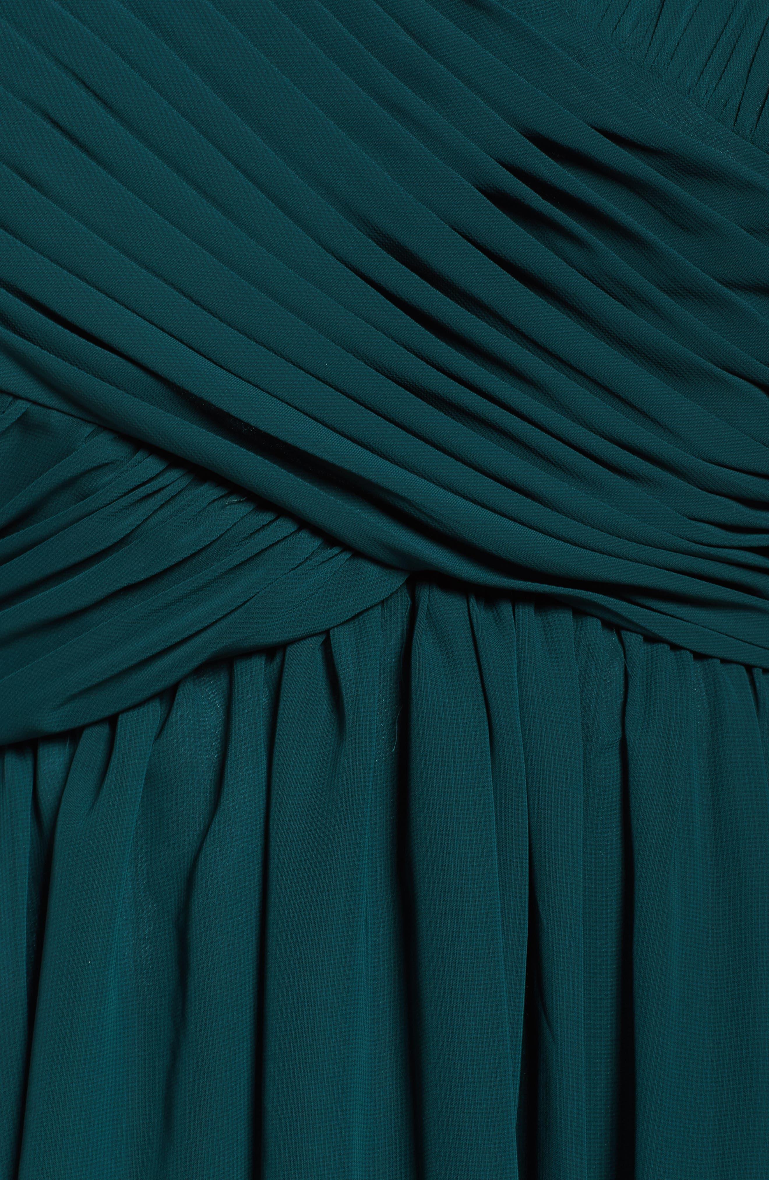 Alternate Image 5  - Eliza J Embellished Pleated Chiffon Gown (Plus Size)