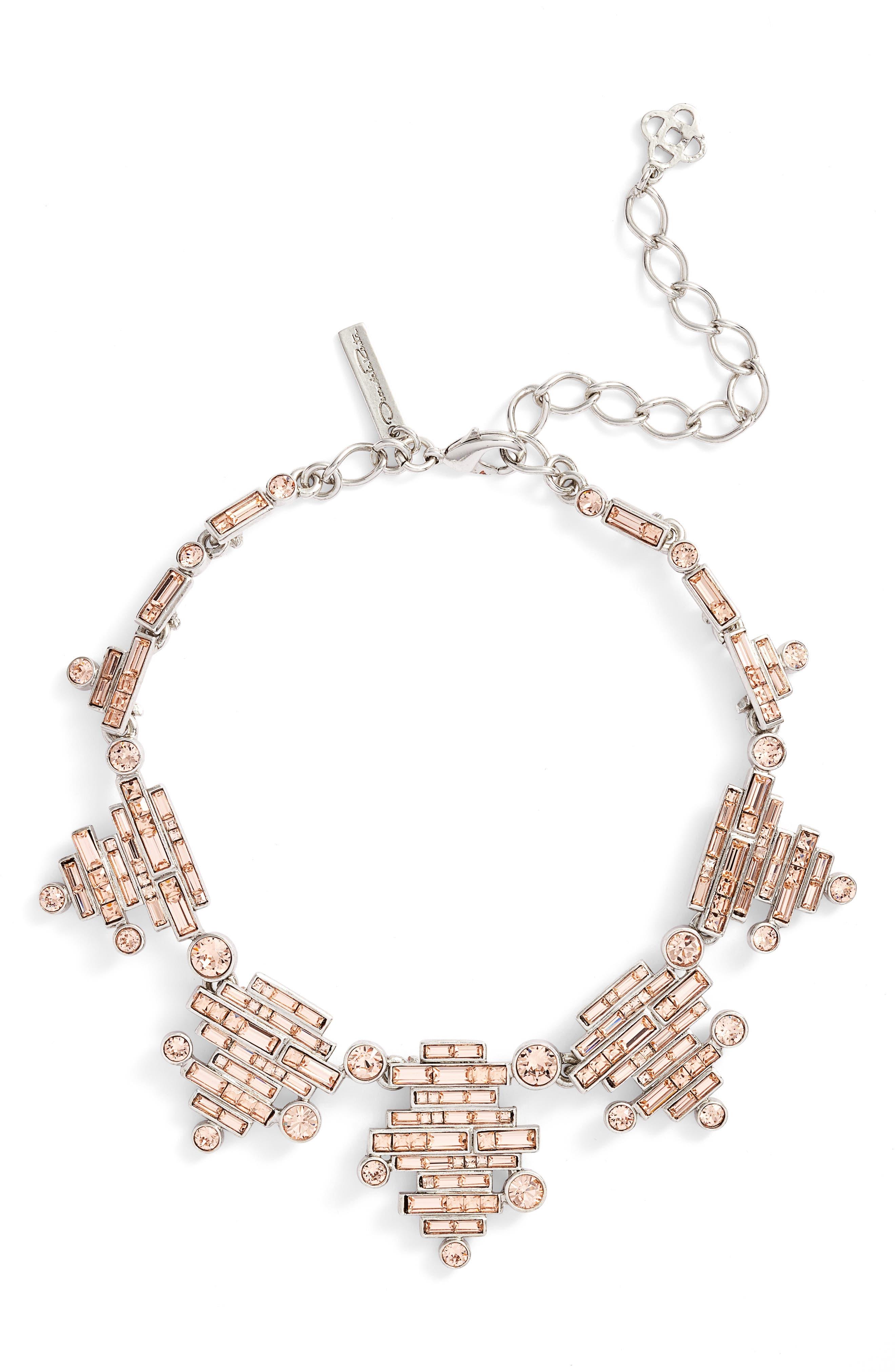 Oscar de la Renta Stacked Baguette Crystal Necklace