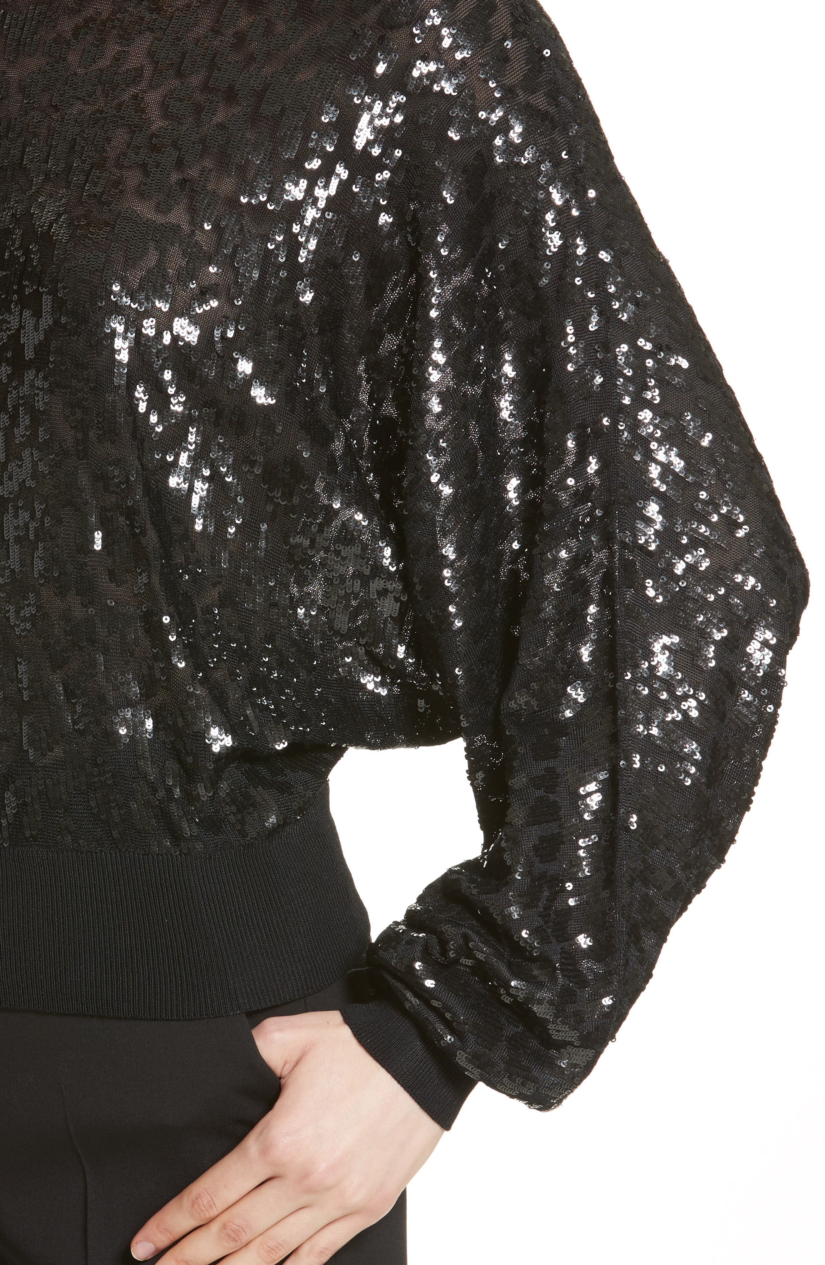 Sequined Tulle Leopard Sweater,                             Alternate thumbnail 4, color,                             Black/ Black