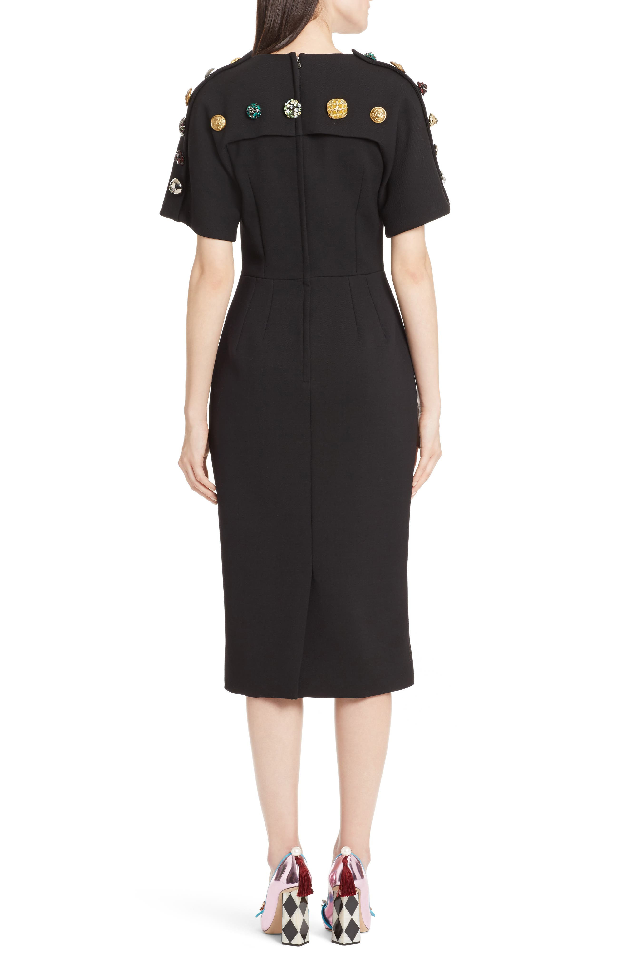 Alternate Image 2  - Dolce&Gabbana Button Trim Stretch Wool Sheath Dress