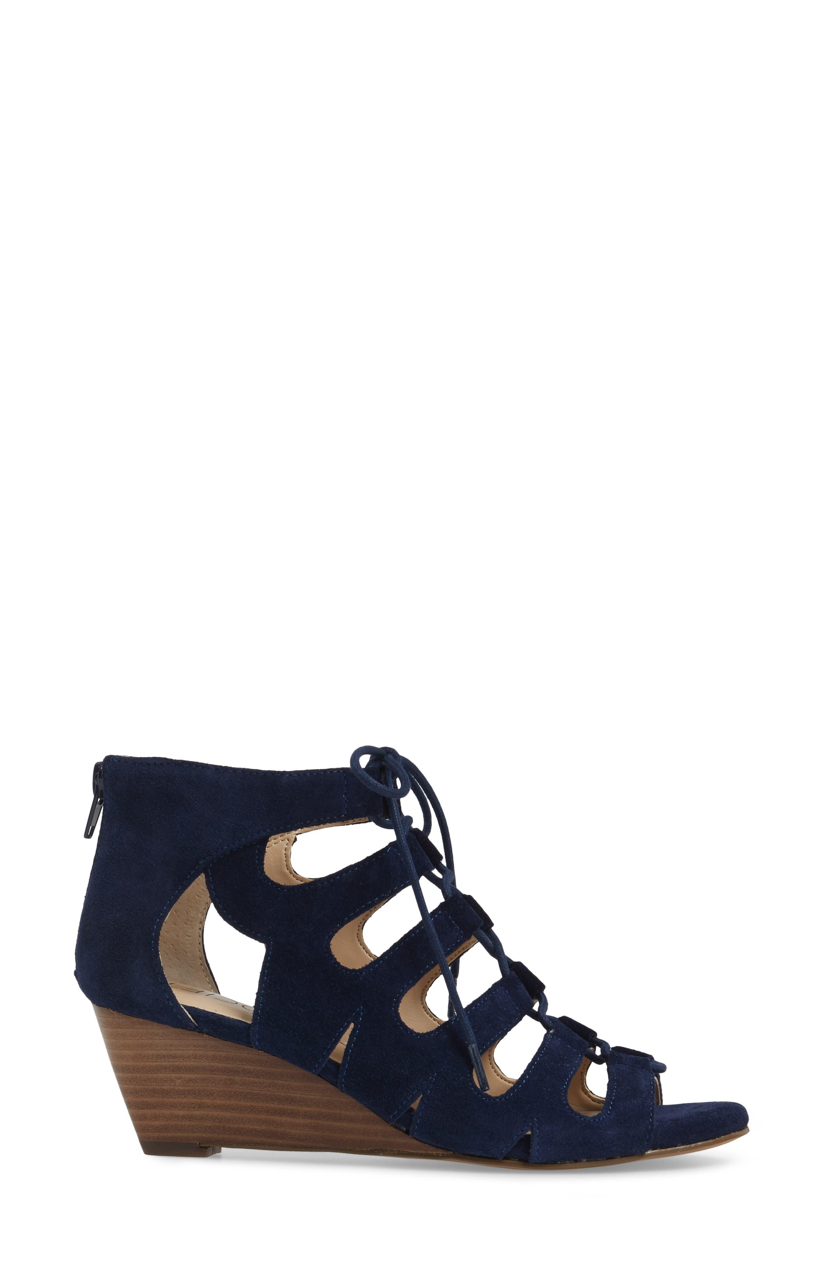 'Freyaa' Wedge Sandal,                             Alternate thumbnail 3, color,                             Navy Suede