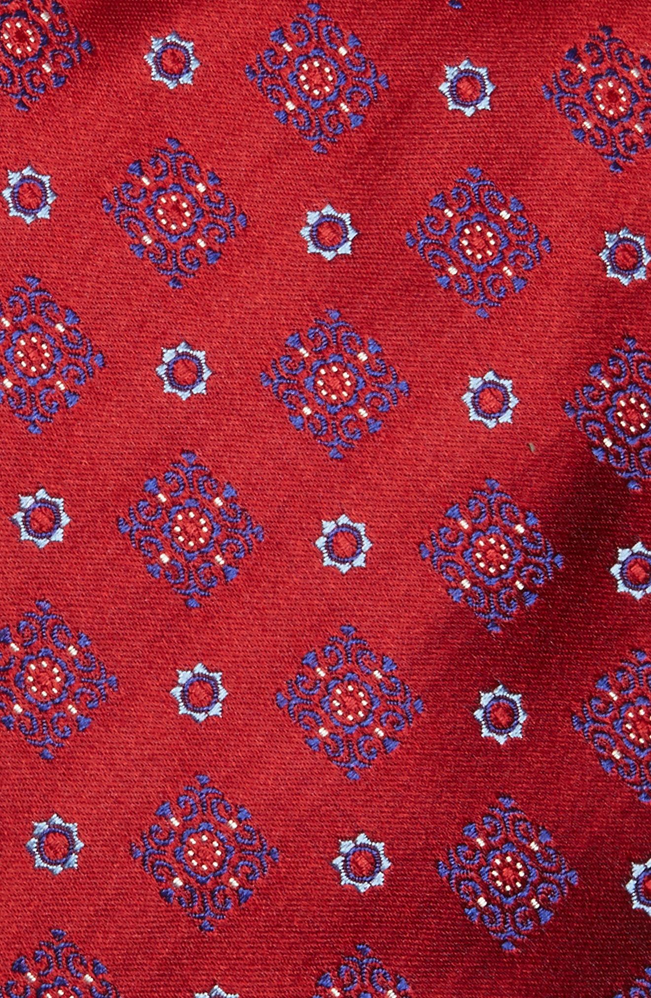 Medallion Silk Tie,                             Alternate thumbnail 2, color,                             Red