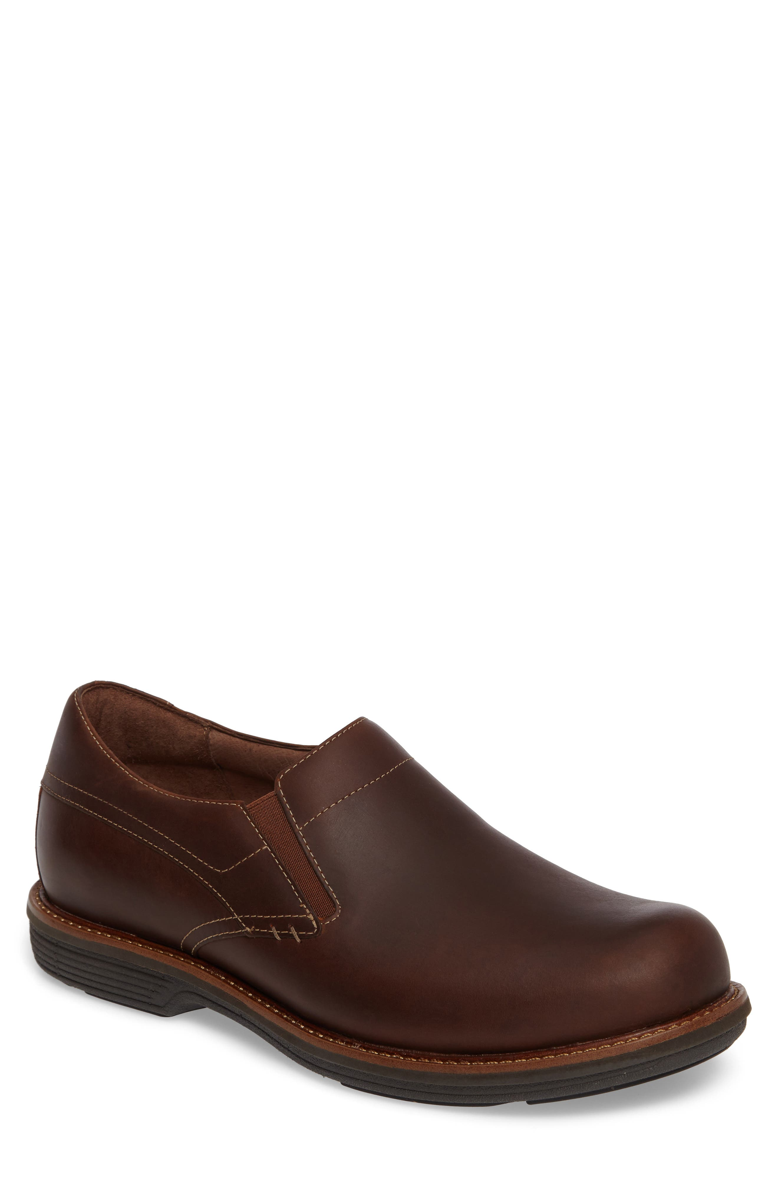 'Jackson' Leather Slip-On,                             Main thumbnail 1, color,                             Brown Pull-Up Leather