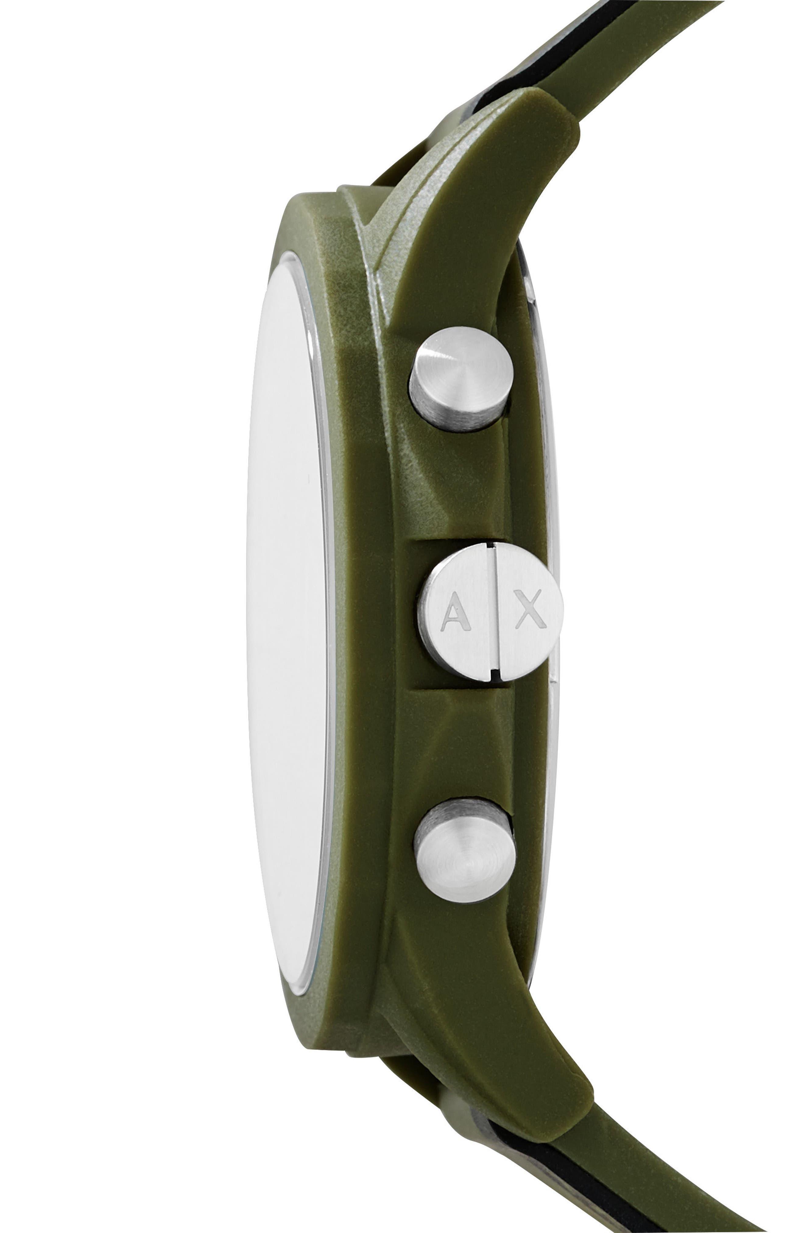 Alternate Image 2  - AX Armani Exchange Chronograph Stripe Silicone Strap Watch, 44mm