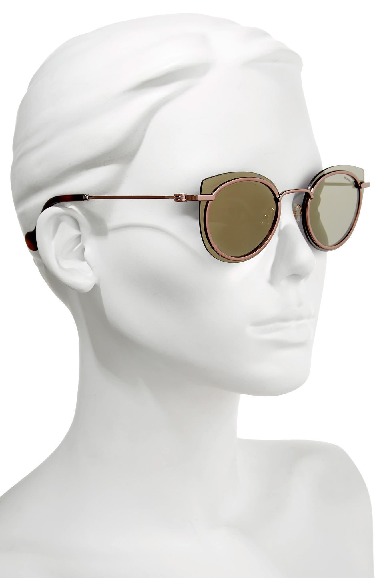 56mm Mirrored Cat Eye Sunglasses,                             Alternate thumbnail 2, color,                             Dark Bronze / Roviex Mirror