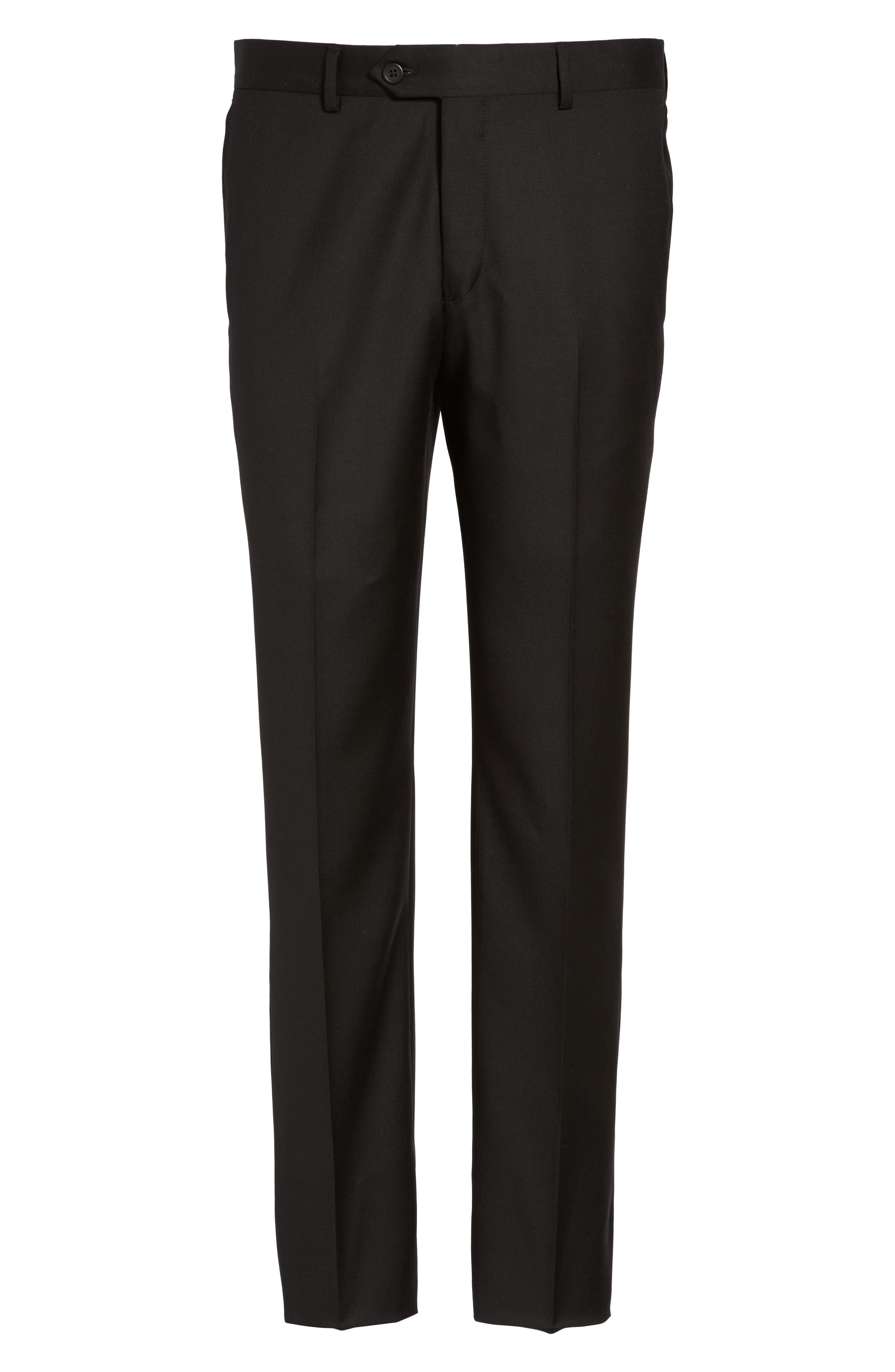 Alternate Image 6  - Nordstrom Men's Shop Flat Front Solid Wool Trousers