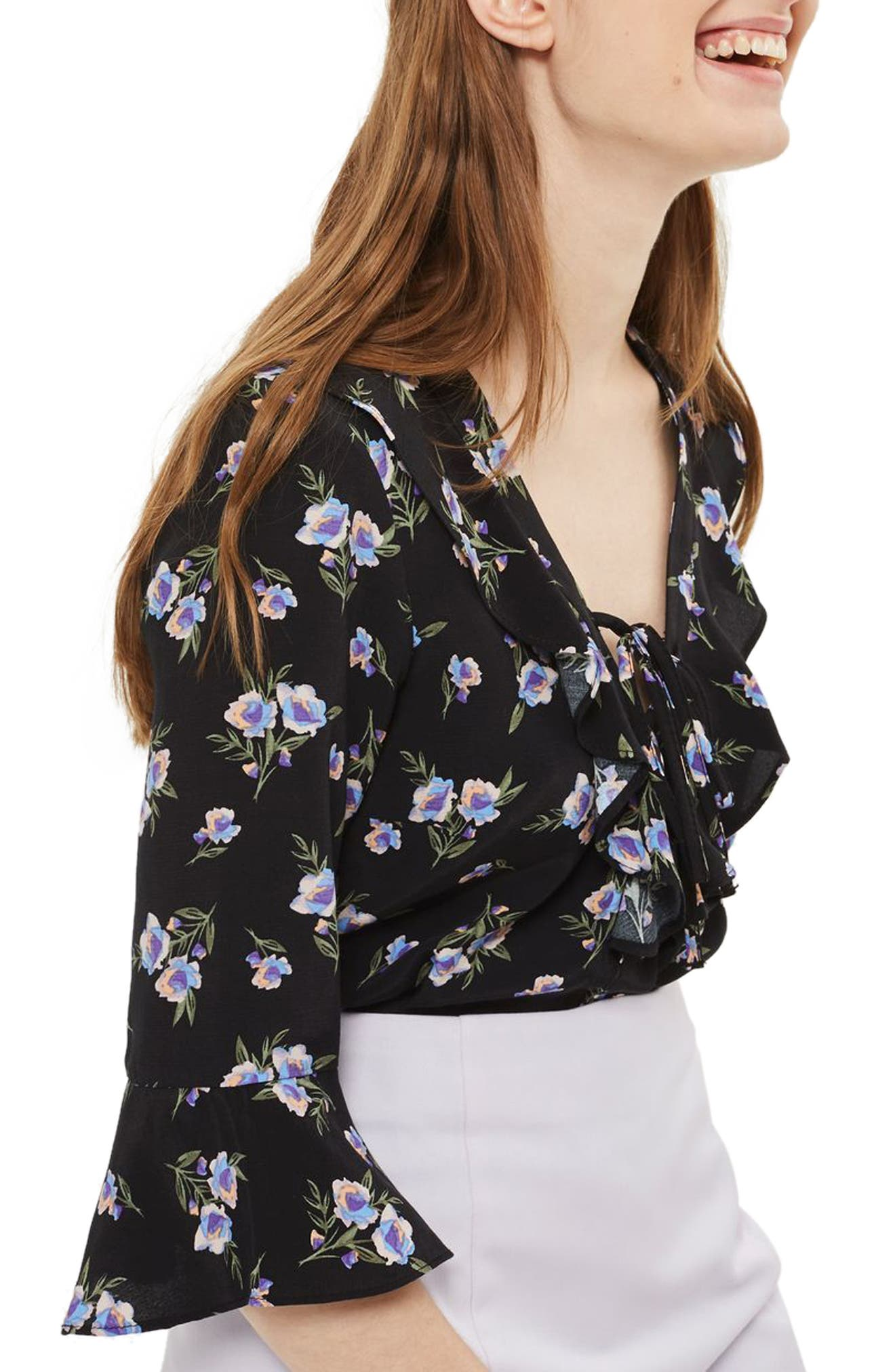 TOPSHOP Floral Lattice Ruffle Blouse