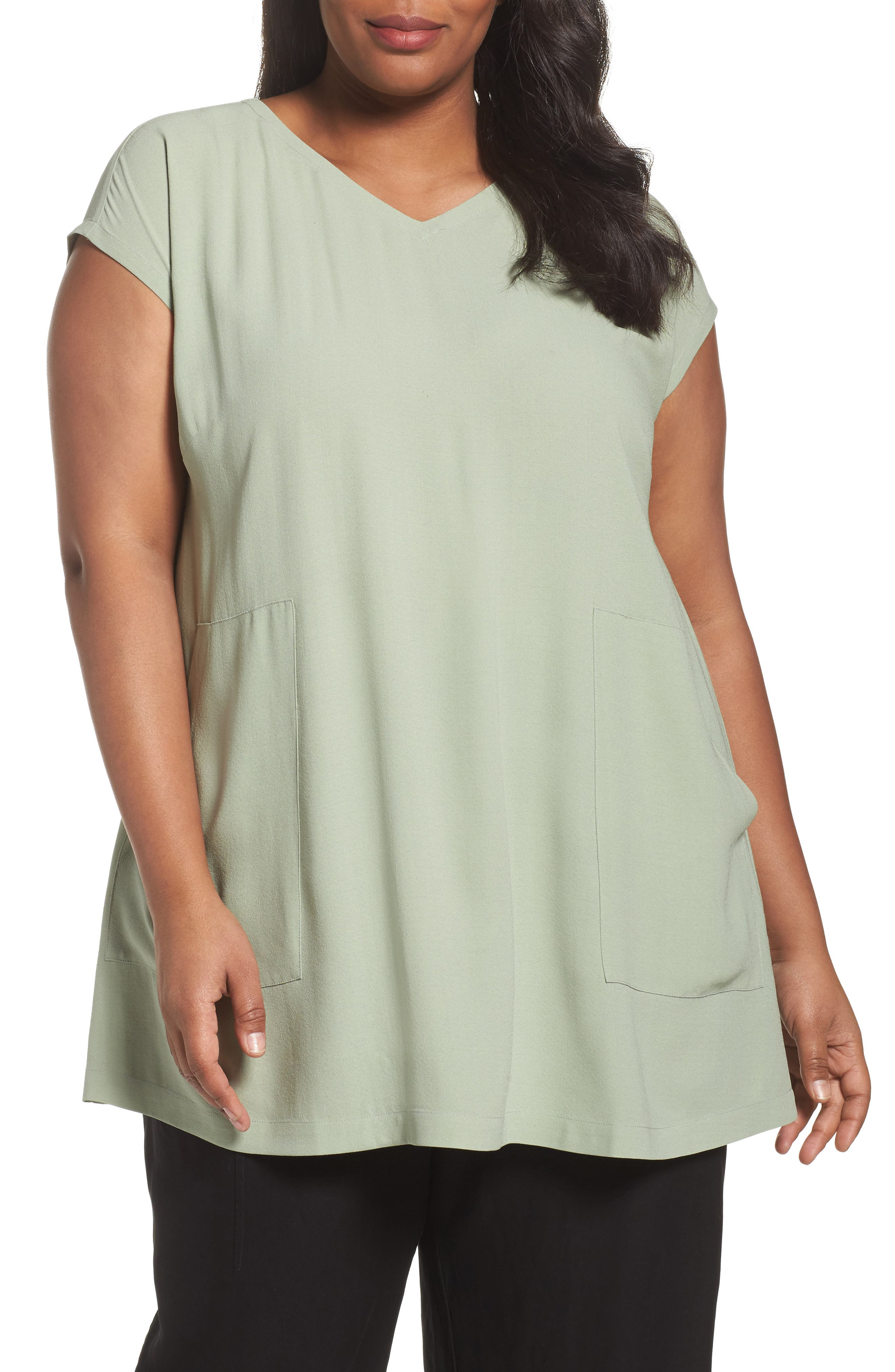 Eileen Fisher Silk V-Neck Tunic (Plus Size)