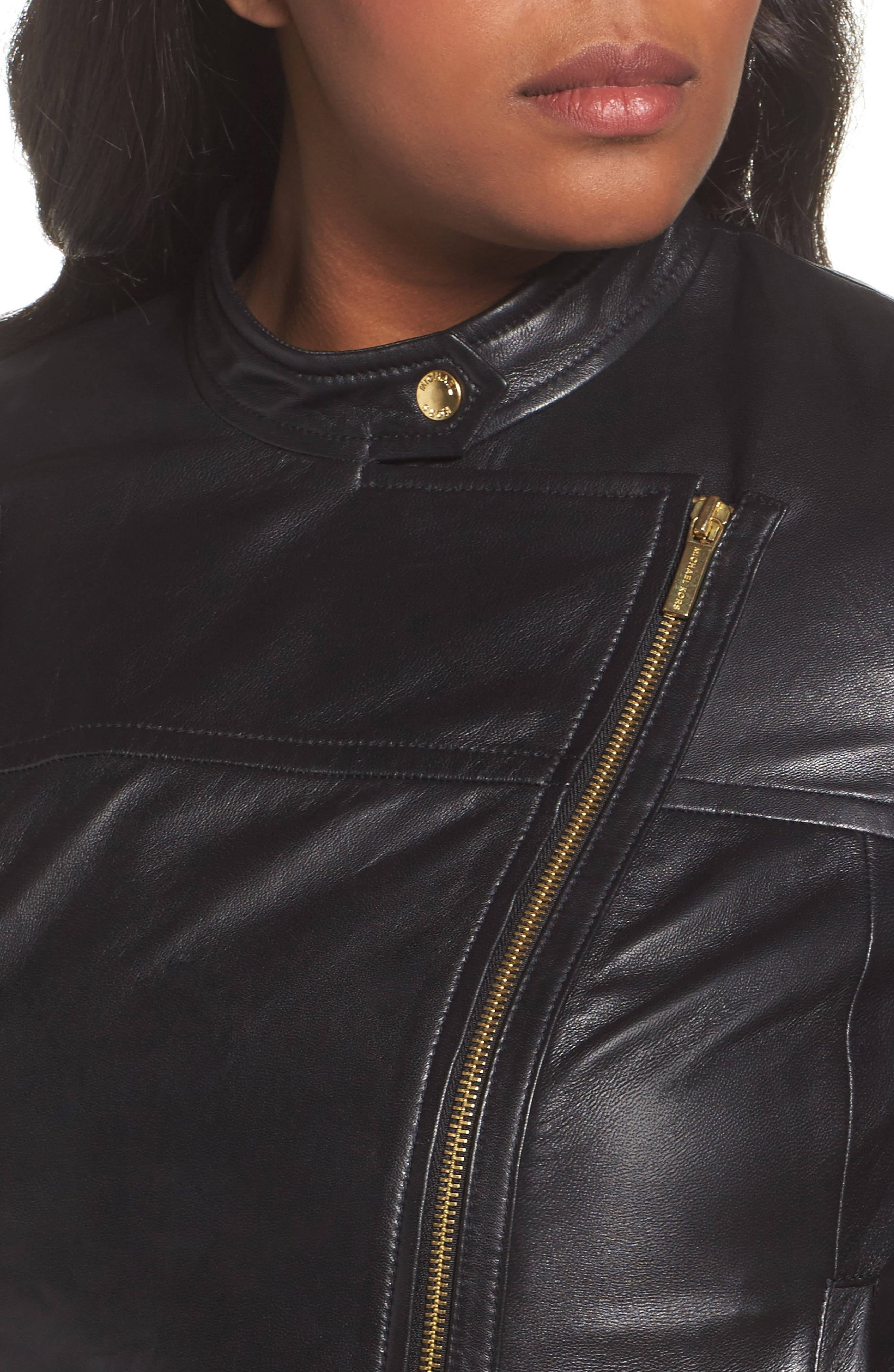 Alternate Image 4  - MICHAEL Michael Kors Crop Leather Jacket (Plus Size)