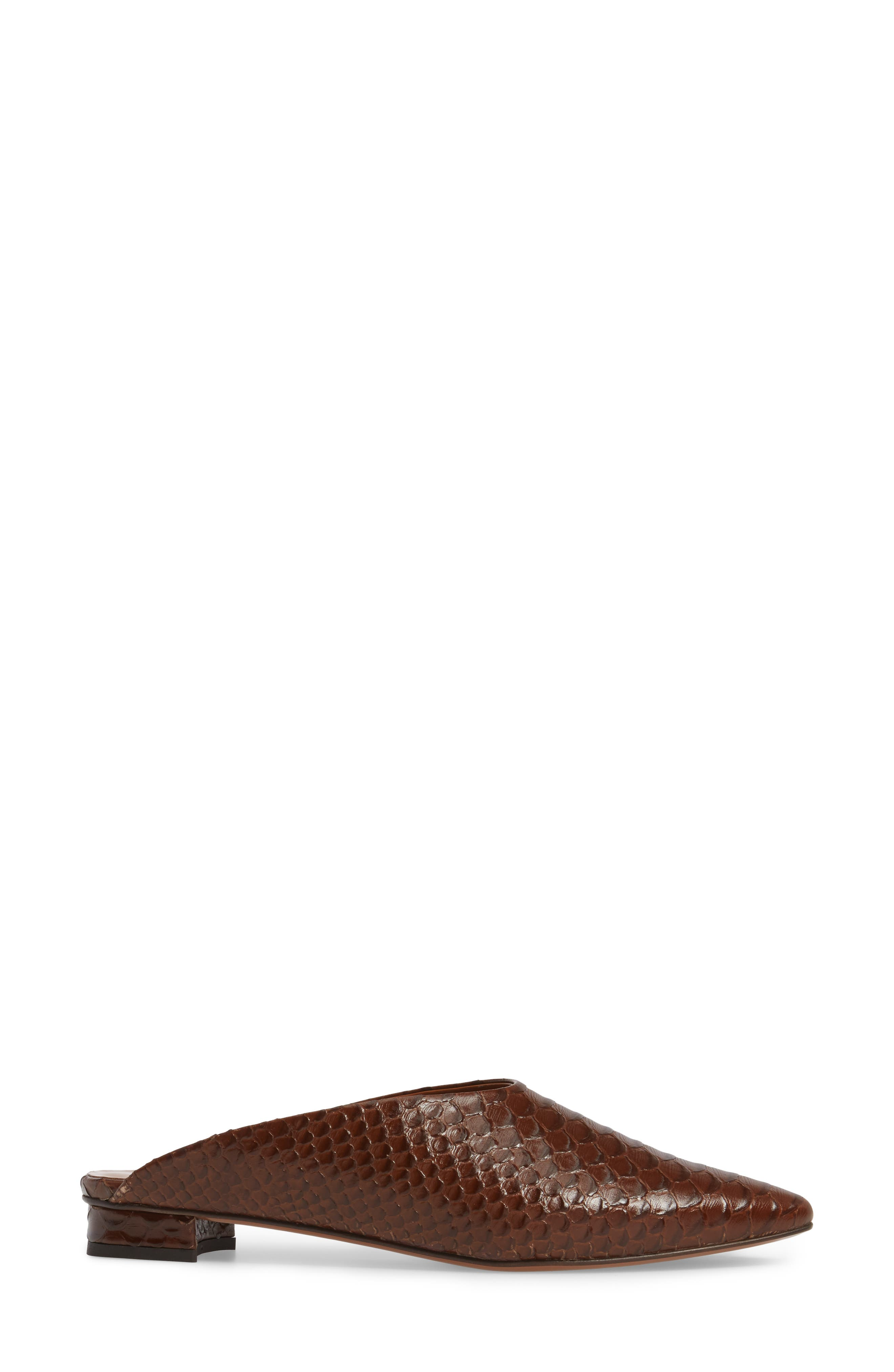 Patrizia Pointed Toe Mule,                             Alternate thumbnail 3, color,                             Brown Leather