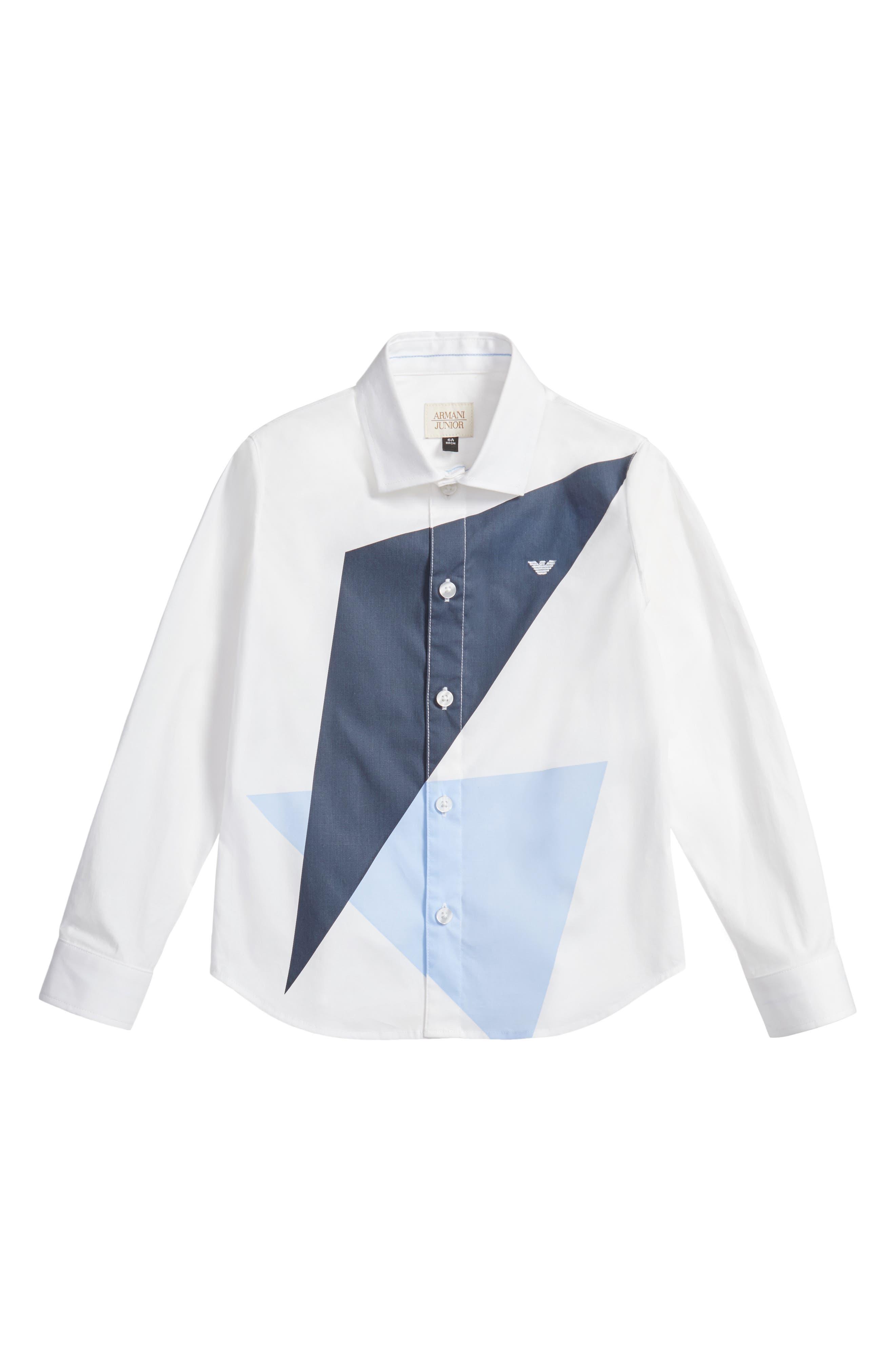 Geo Print Dress Shirt,                             Main thumbnail 1, color,                             White