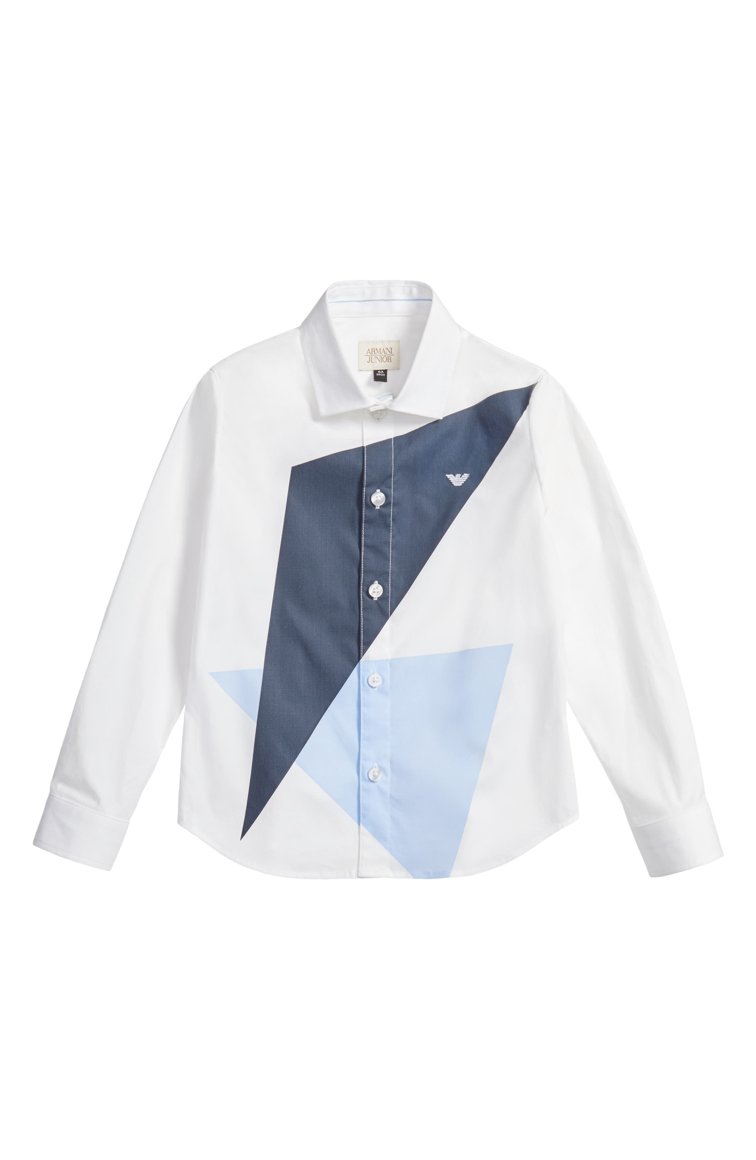 Geo Print Dress Shirt,                         Main,                         color, White