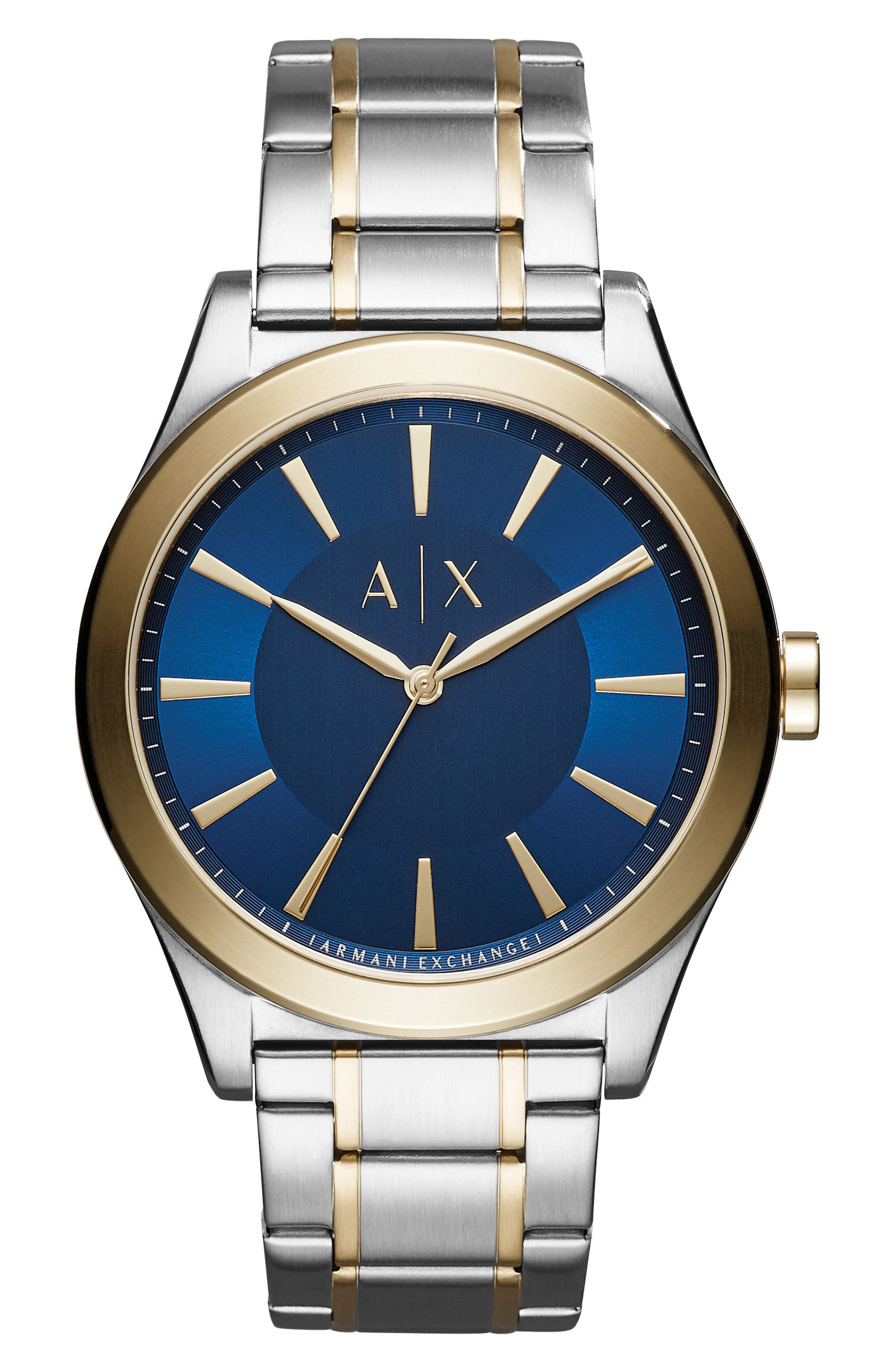 Main Image - AX Armani Exchange Nico Two-Tone Bracelet Watch, 44mm