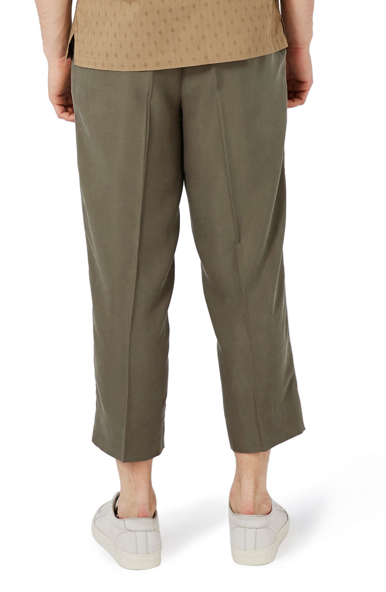 Crop Wide Leg Trousers,                             Alternate thumbnail 3, color,                             Olive